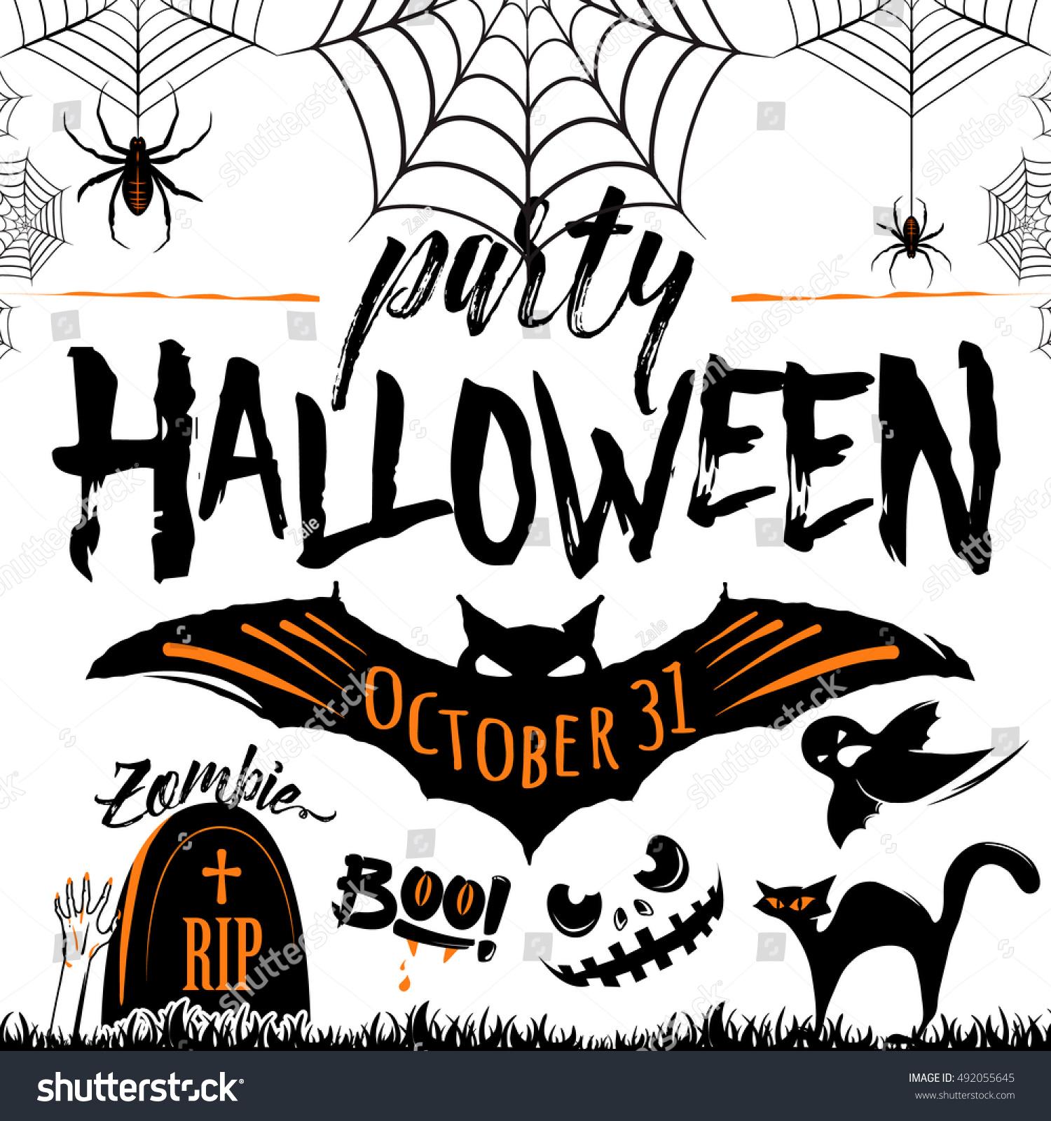zombie halloween invitations vector illustration halloween celebration poster halloween stock - Zombie Halloween Invitations