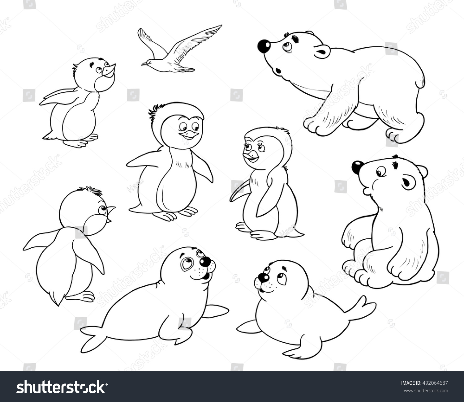 zoo arctic animals small set cute stock illustration 492064687