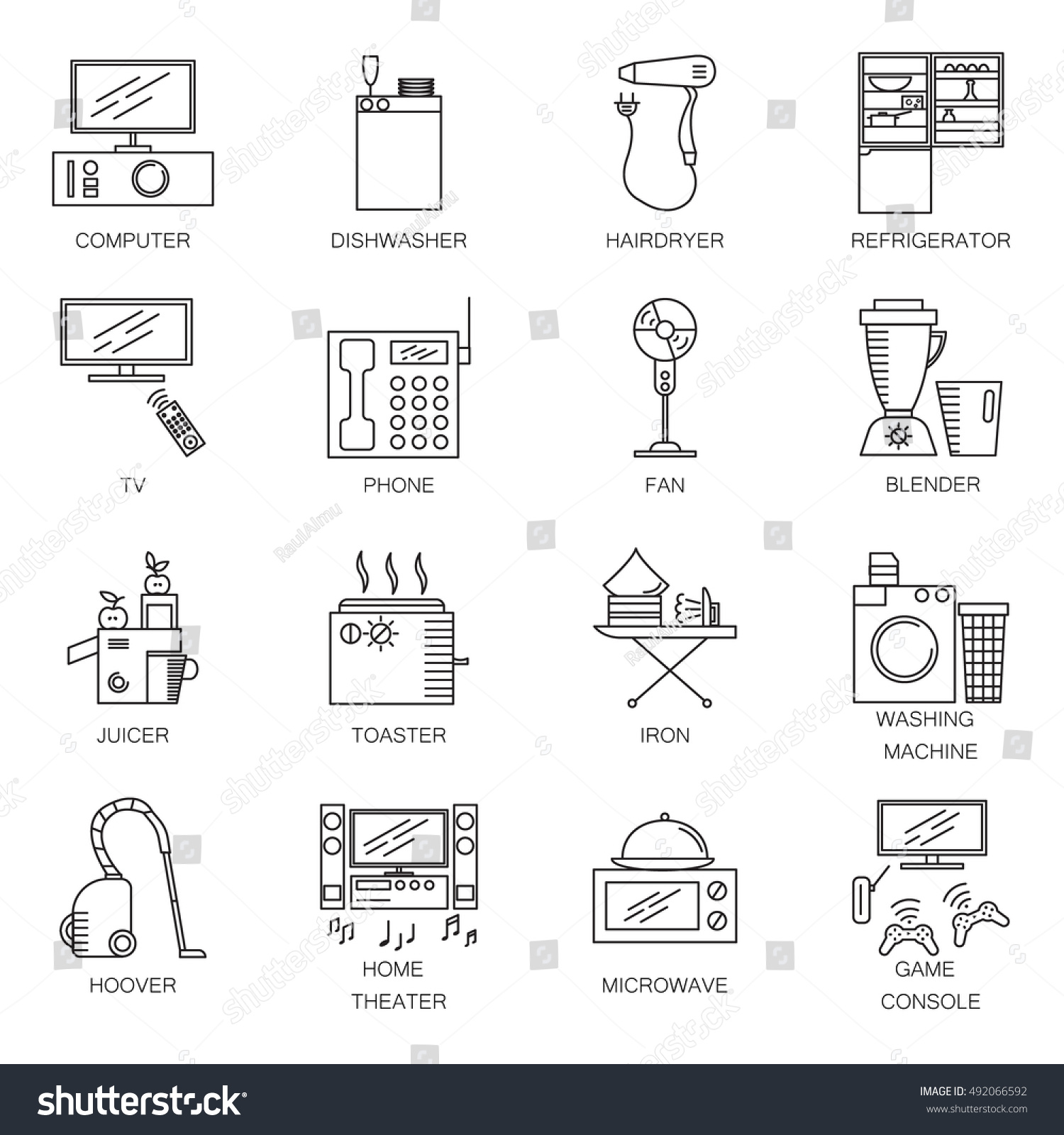 Appliances line icon set collection vector stock vector 492066592 collection of vector symbols on the topic of home electronic devices buycottarizona Image collections