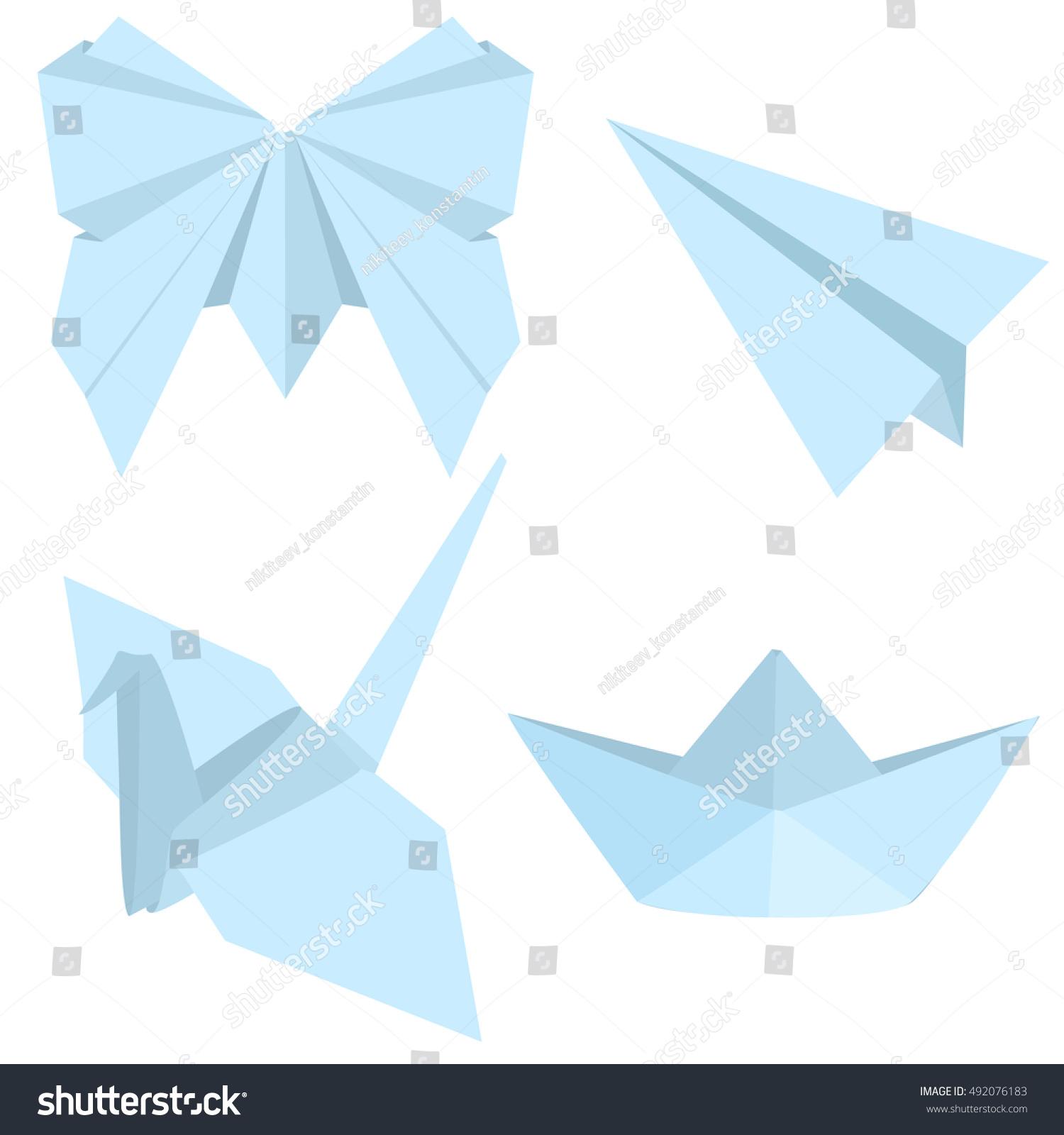 Vector set origami objects plane boat stock vector 492076183 vector set of origami objects plane boat butterfly and crane jeuxipadfo Choice Image