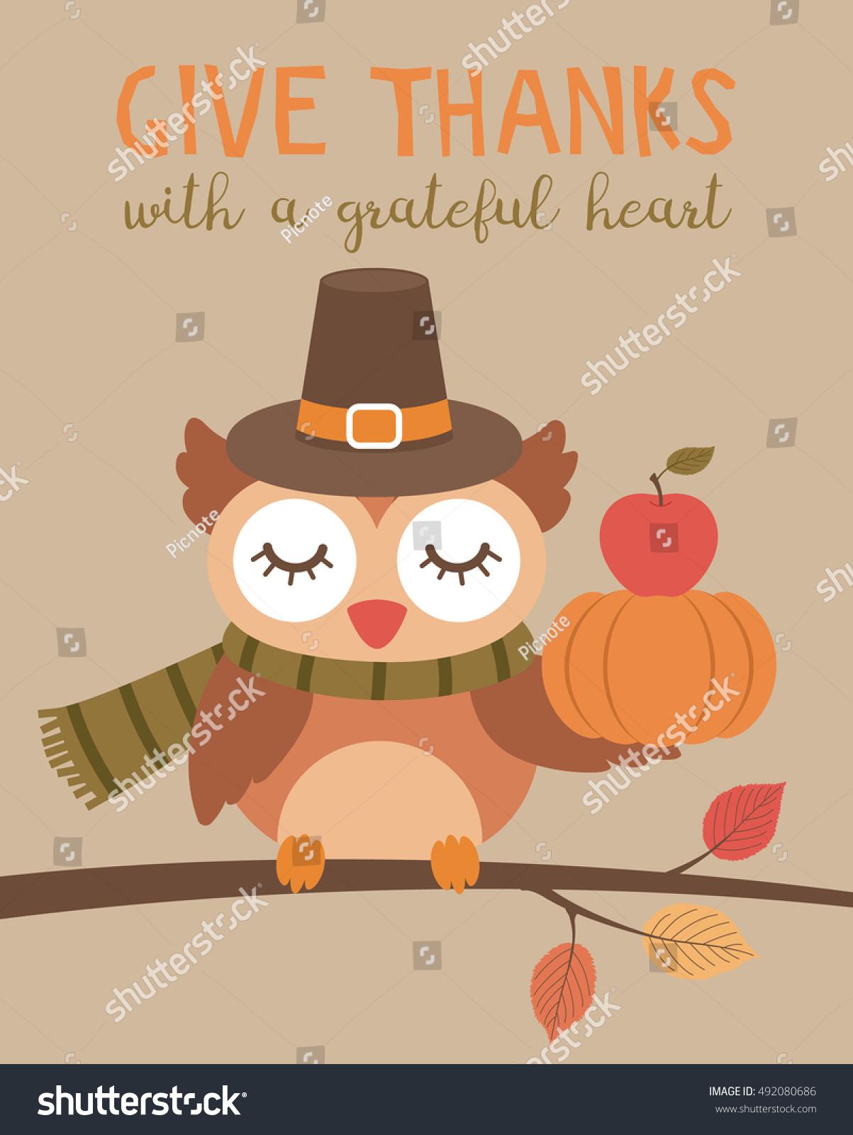 Cute owl cartoon illustration thanksgiving card stock vector cute owl cartoon illustration for thanksgiving card design m4hsunfo