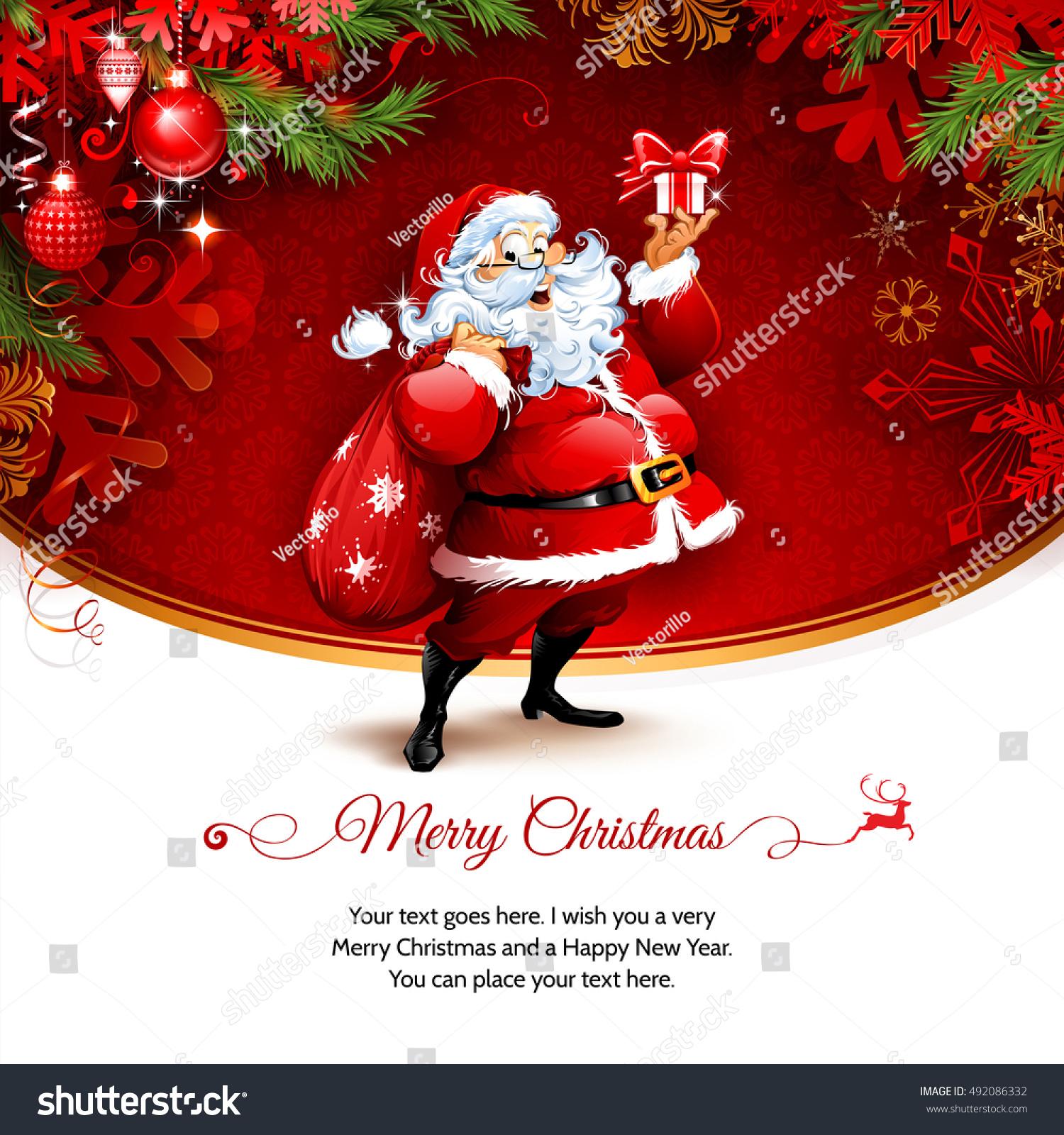 Vector Vintage Christmas Greeting Card Design Stock Vector 492086332