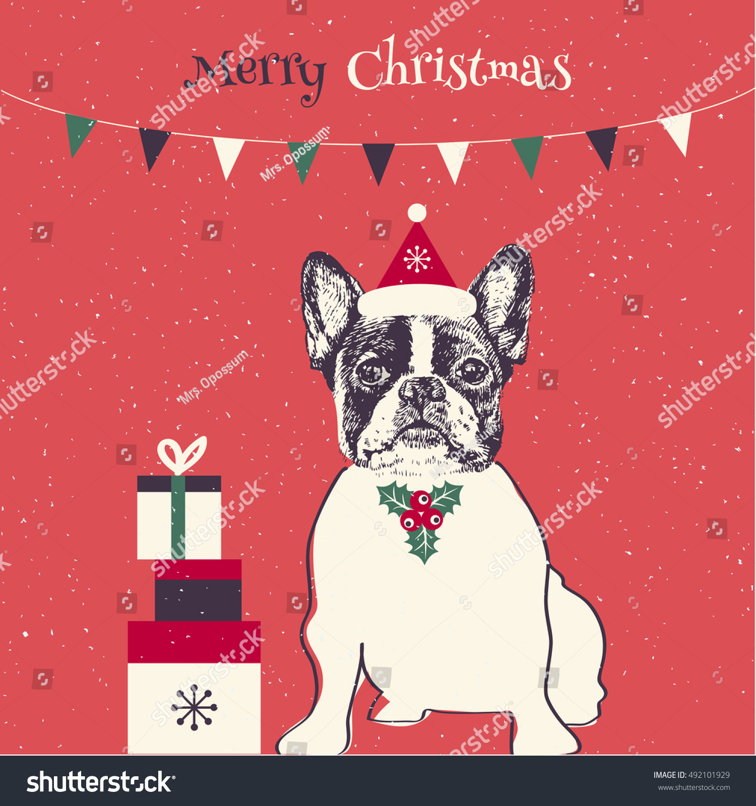 Hand Drawn Vector French Bulldog Merry Stock Vector (Royalty Free ...