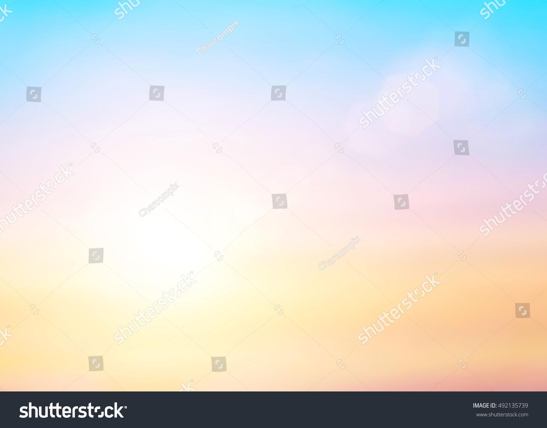 Pastel Summer Neon Gradient: Pastel Gradient Blurred Sunset Background Soft Stock Photo