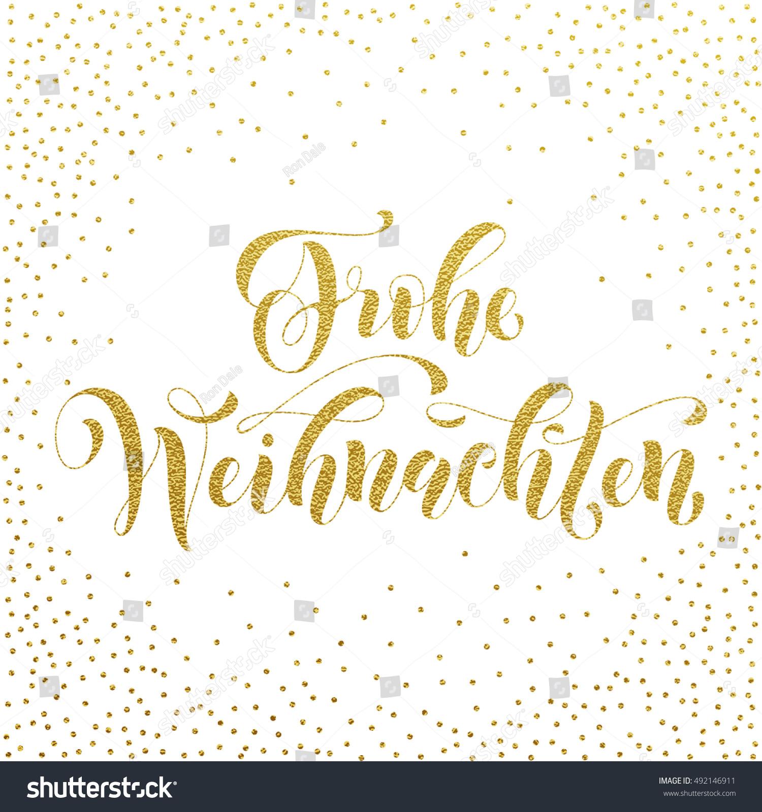 Frohe Weihnachten Glitzer.Frohe Weihnachten Gold Glitter Modern Lettering Stock Vector