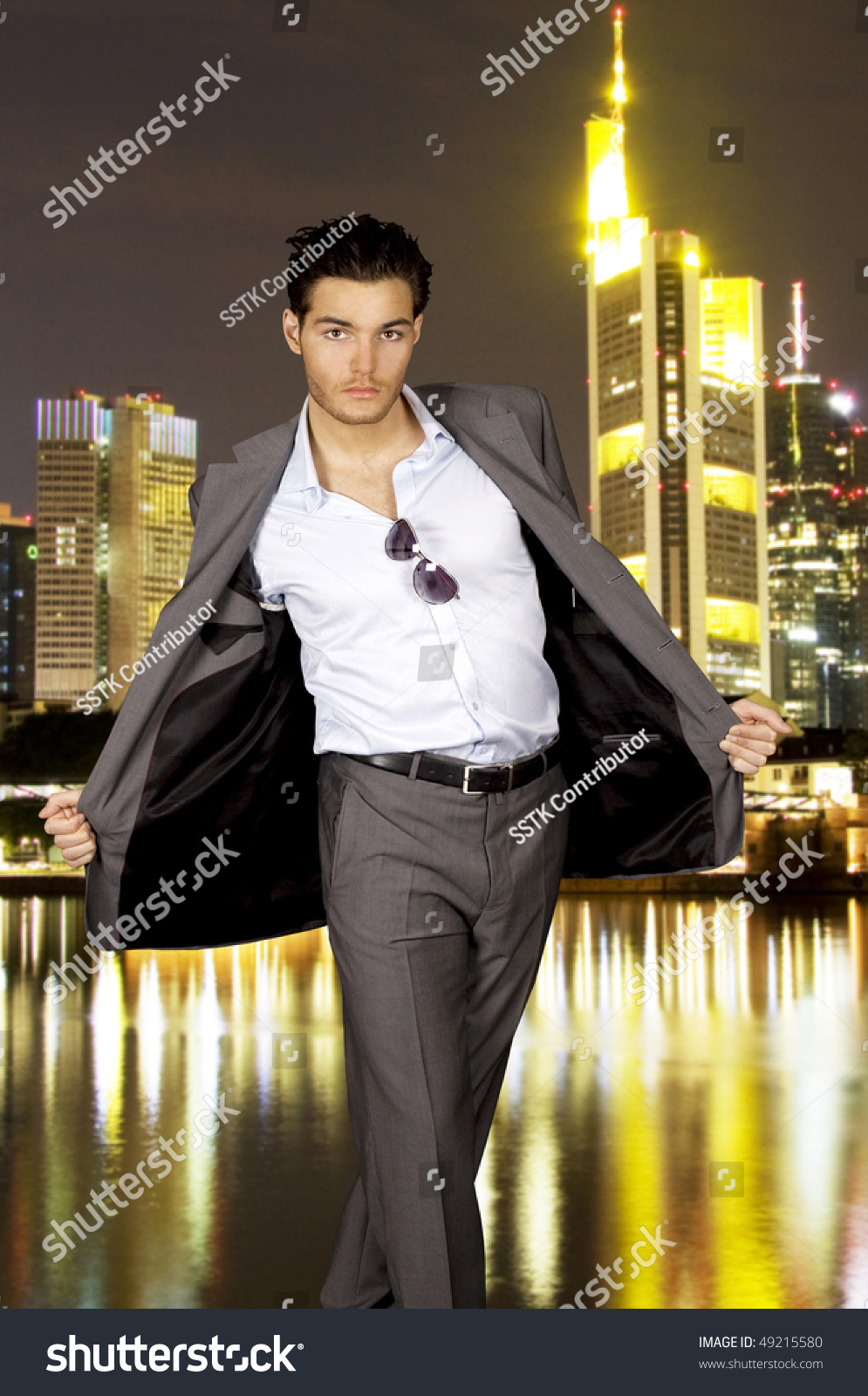 Young Man Grey Suit Front Skyline Stock Photo 49215580 - Shutterstock