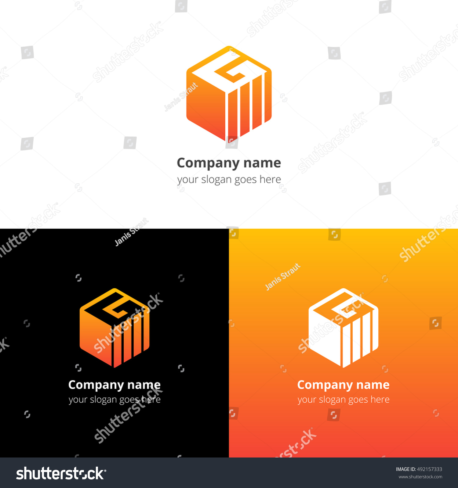Royalty Free Letter G In Cube Logo Icon With Trend 492157333 Diagram Template Yellow Orange Gradient Color Minimalism Flat Vector Logotype Design Stock Photo