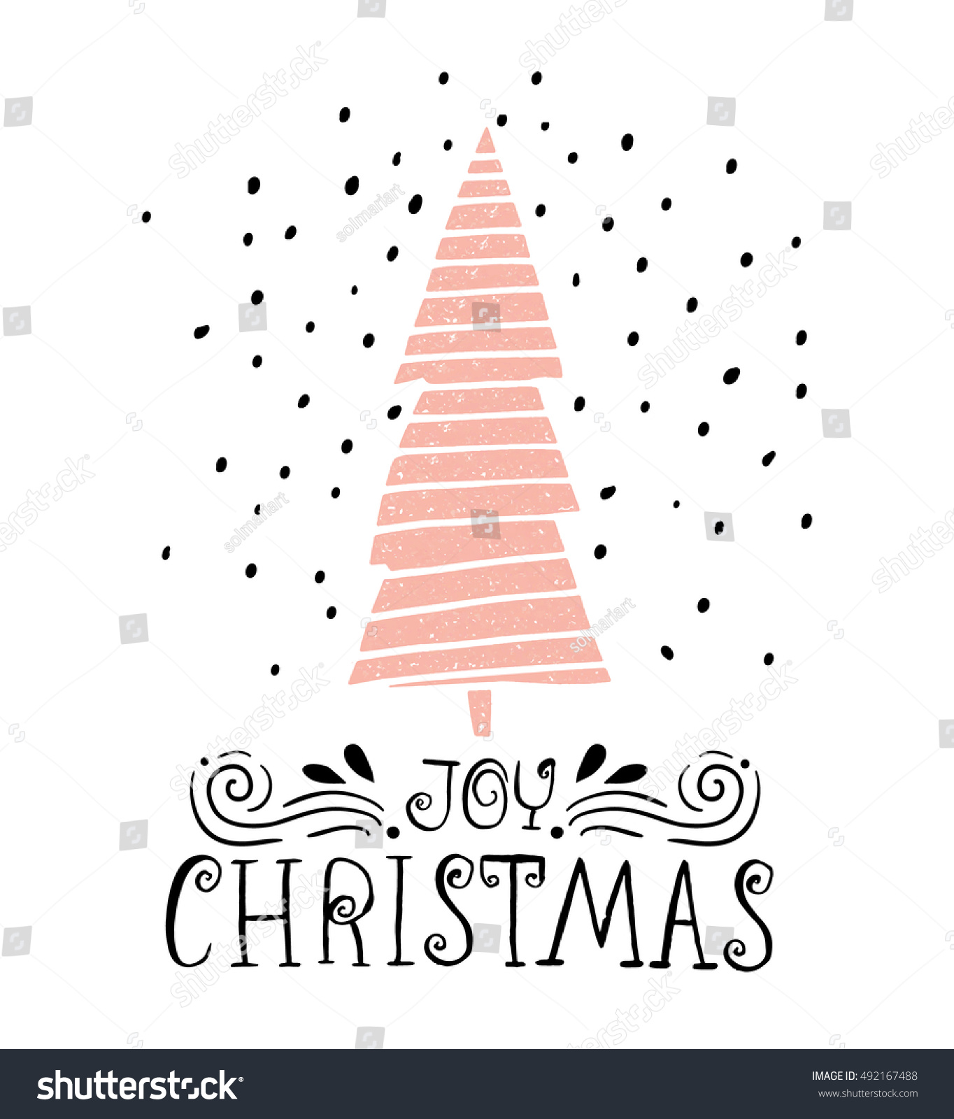 Joy christmas winter holiday saying hand stock vector royalty free joy christmas winter holiday saying hand drawn greeting card with handwritten lettering and christmas m4hsunfo