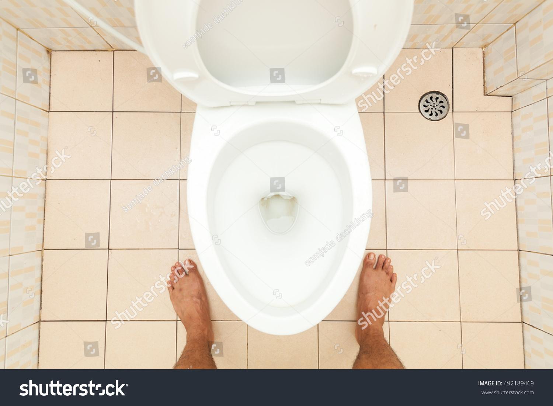 Toilet Lavatory Bare Feet Standing Dirty Toilet Stock Photo (Edit ...