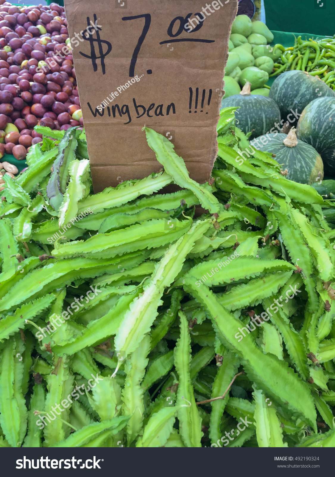 Fresh Winged Beans On Display Price Stock Photo (Edit Now) 492190324