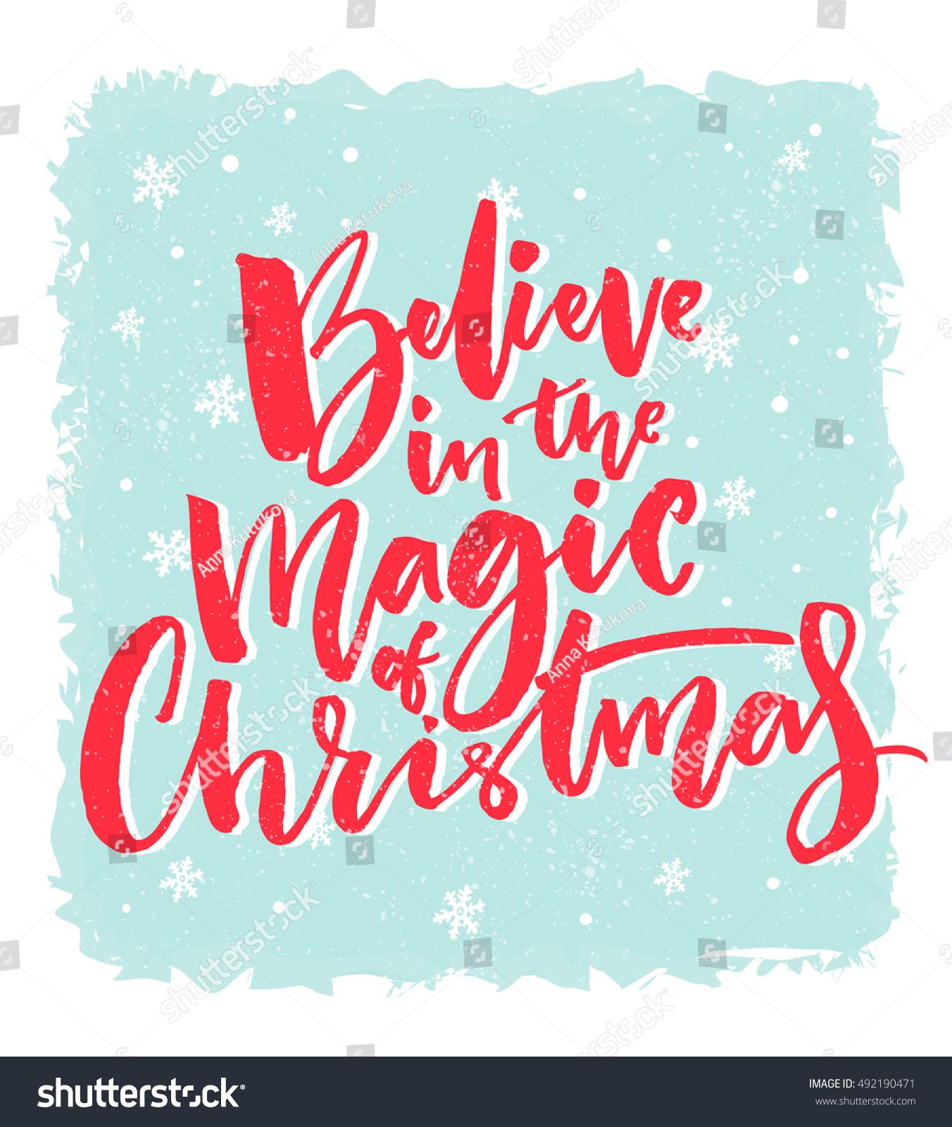 Christmas Card Design Believe Magic Christmas Stock Vector (Royalty ...