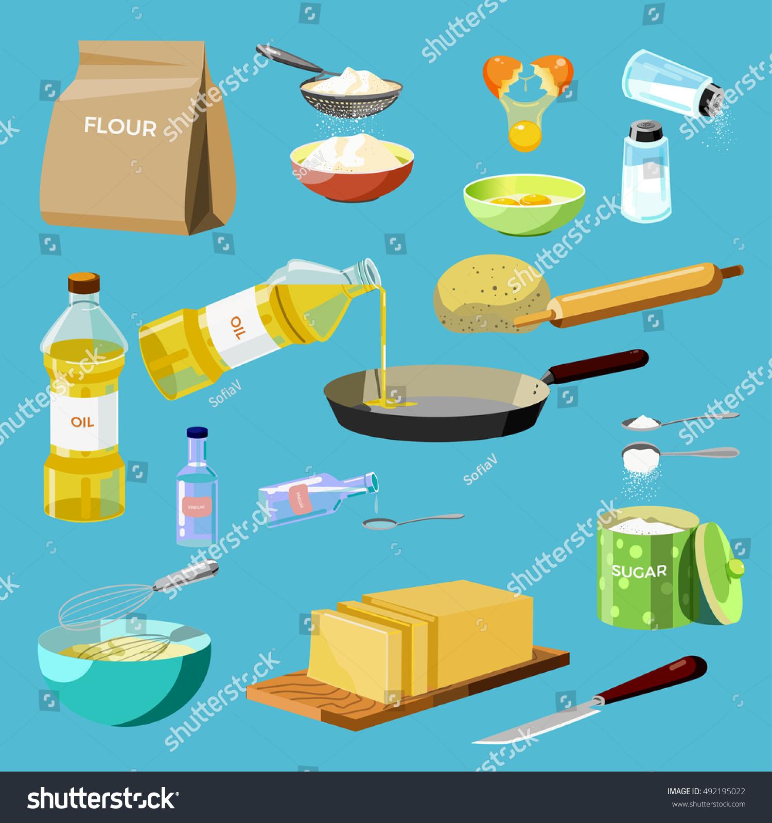 Set Baking Ingredients Kitchen Tools Baking Stock Vector (Royalty ...
