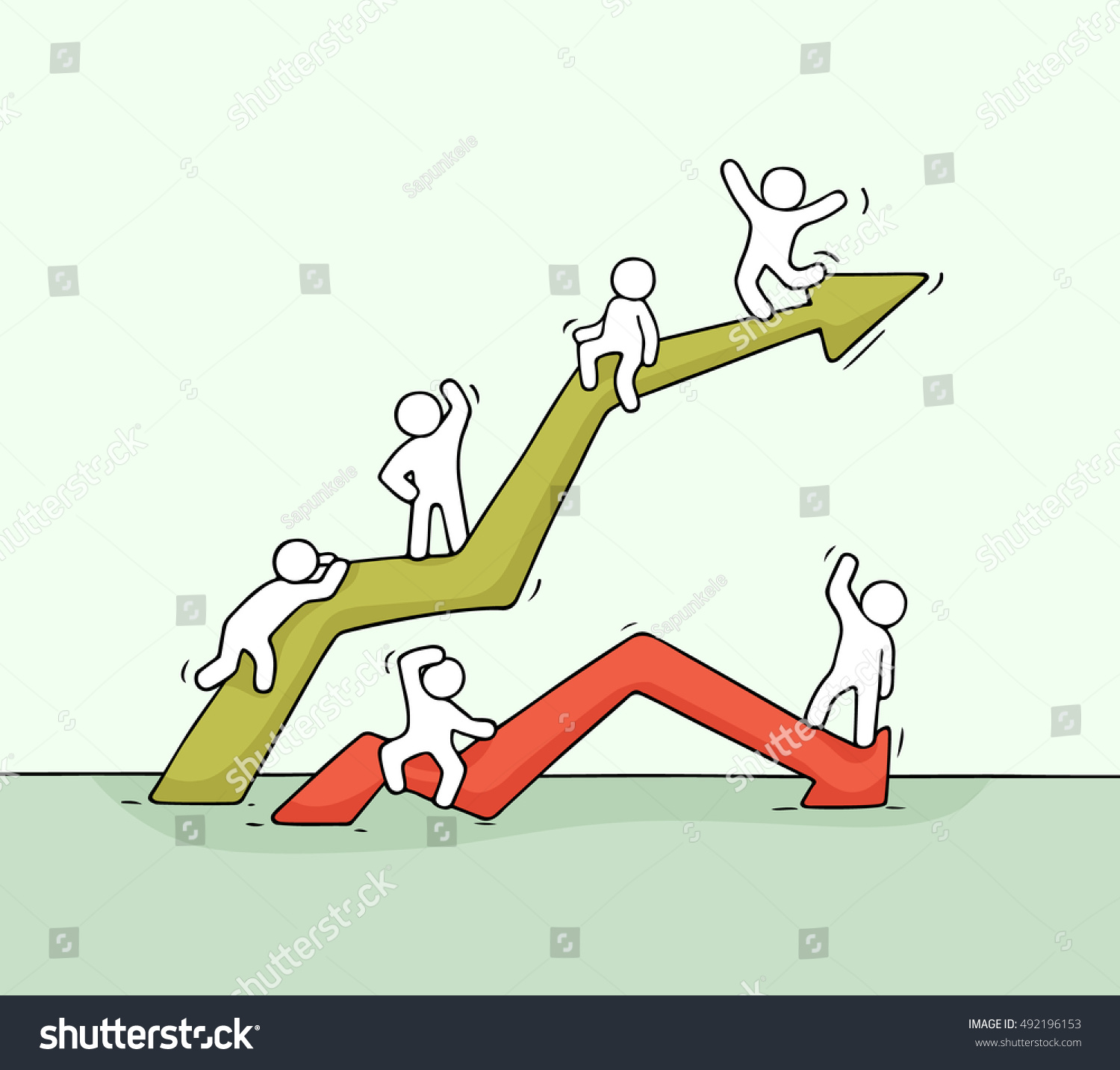 Cartoon up and down diagram with working little people Doodle cute miniature teamwork Hand drawn vector illustration for business an financial design