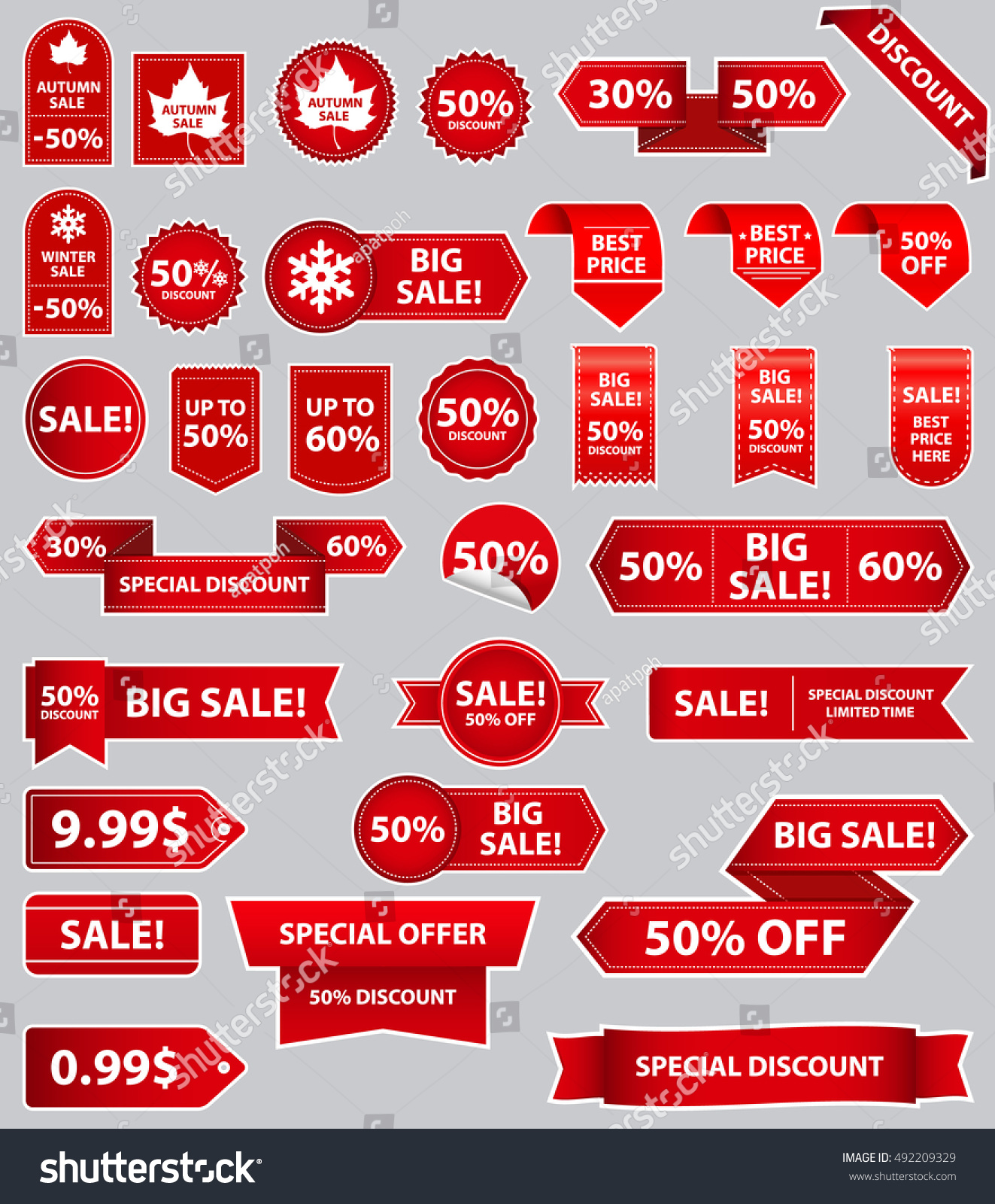 Set of sale tags with text mega sale winter sale special offer