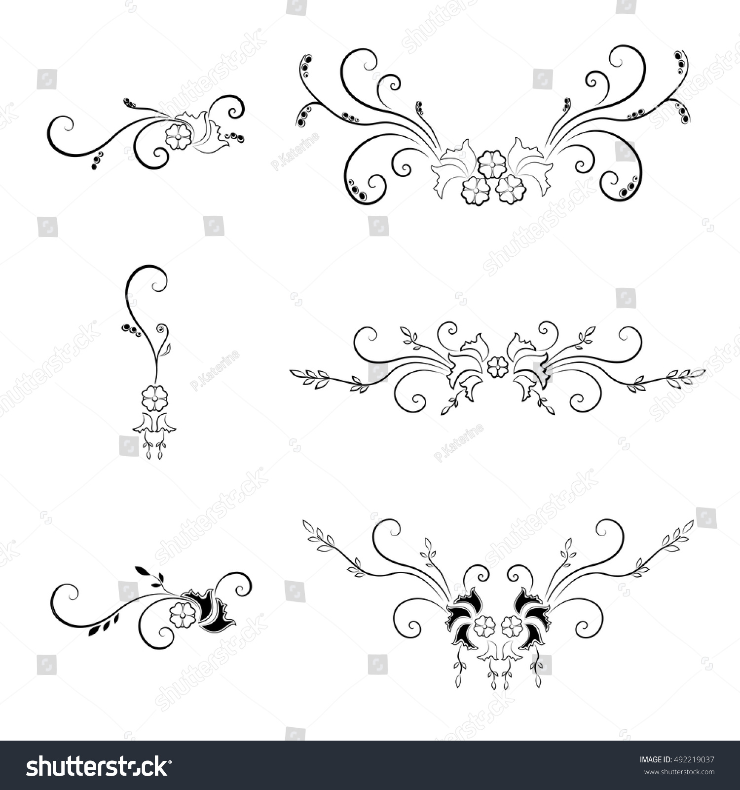 Set Decorative Filigree Elements Collection Abstraction Stock Vector ...