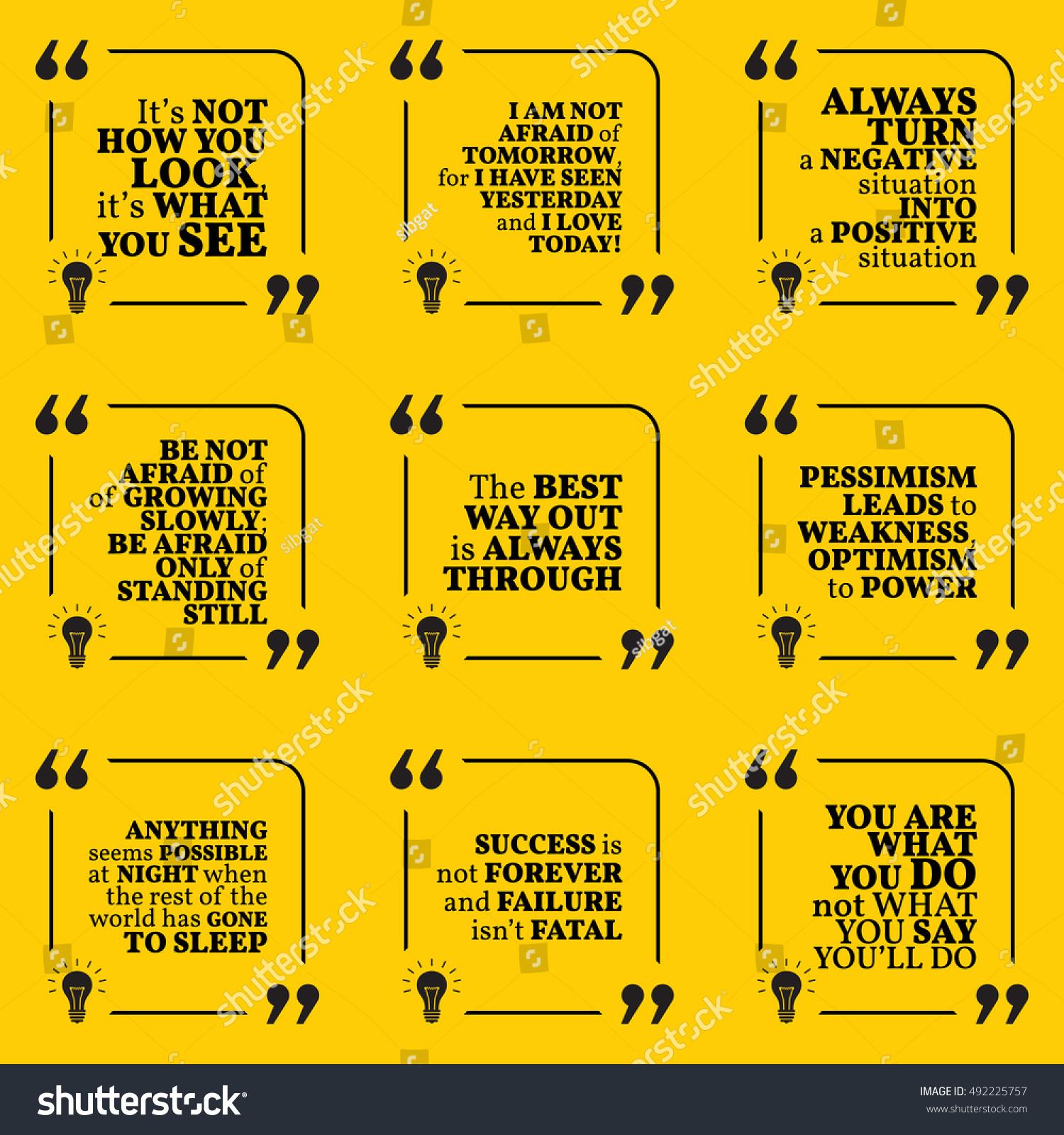 Quotes On Positive Thinking Set Motivational Quotes About Positive Thinking Stock Vector
