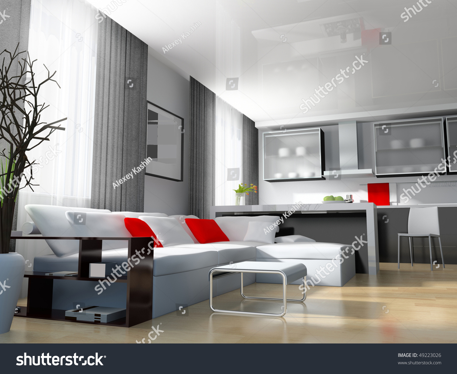 Modern white drawing room 3d image stock illustration for 3d bedroom drawing