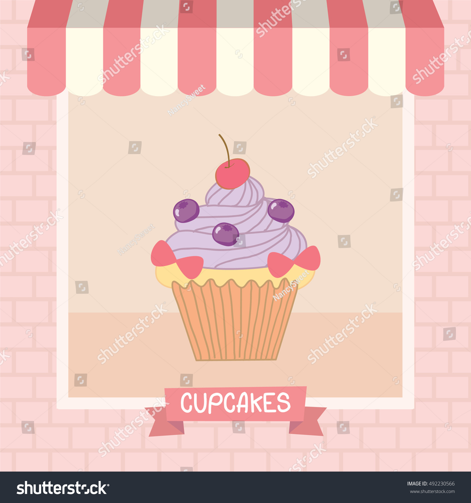 cupcakes cafe shop showcase decoration awning stock vector