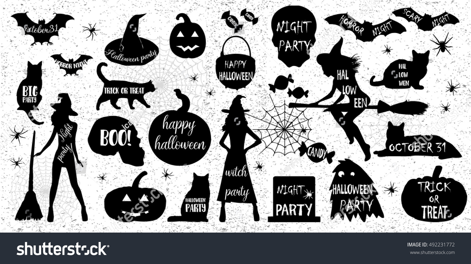 Halloween Silhouettes Witch Pumpkin Black Cat Stock Vector ...