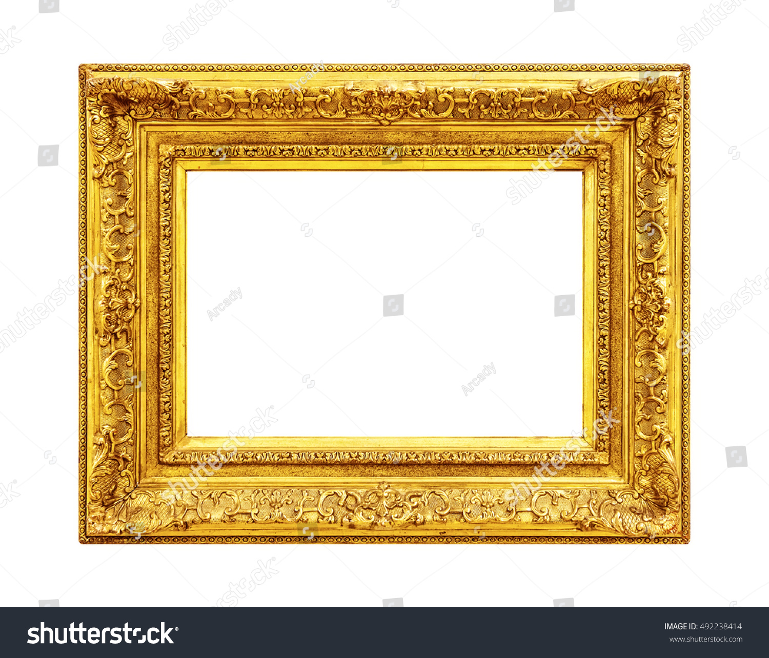 Gold Wooden Frame Isolated On White Stock Photo (Edit Now) 492238414 ...