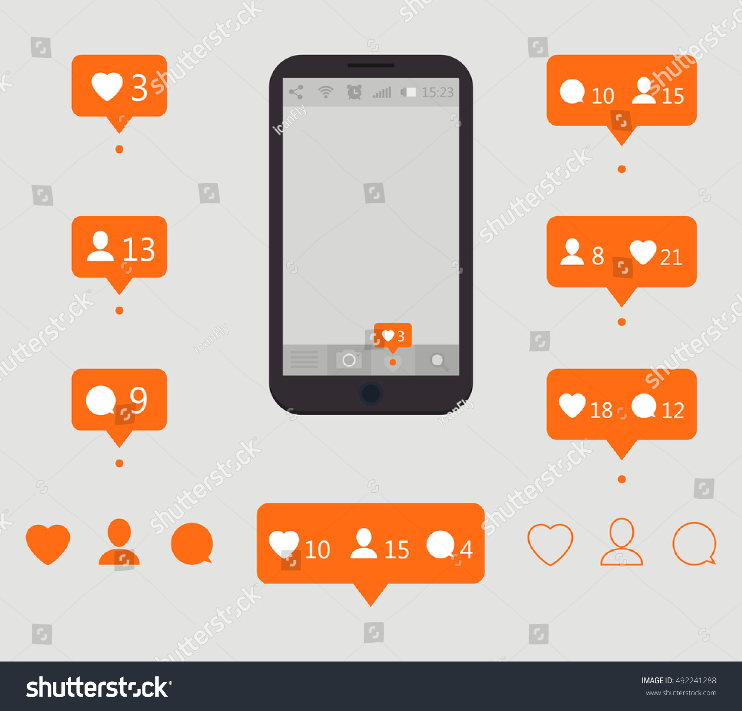 Like icons counter notification like follower stock vector counter notification like follower comment icons icon for social biocorpaavc Images