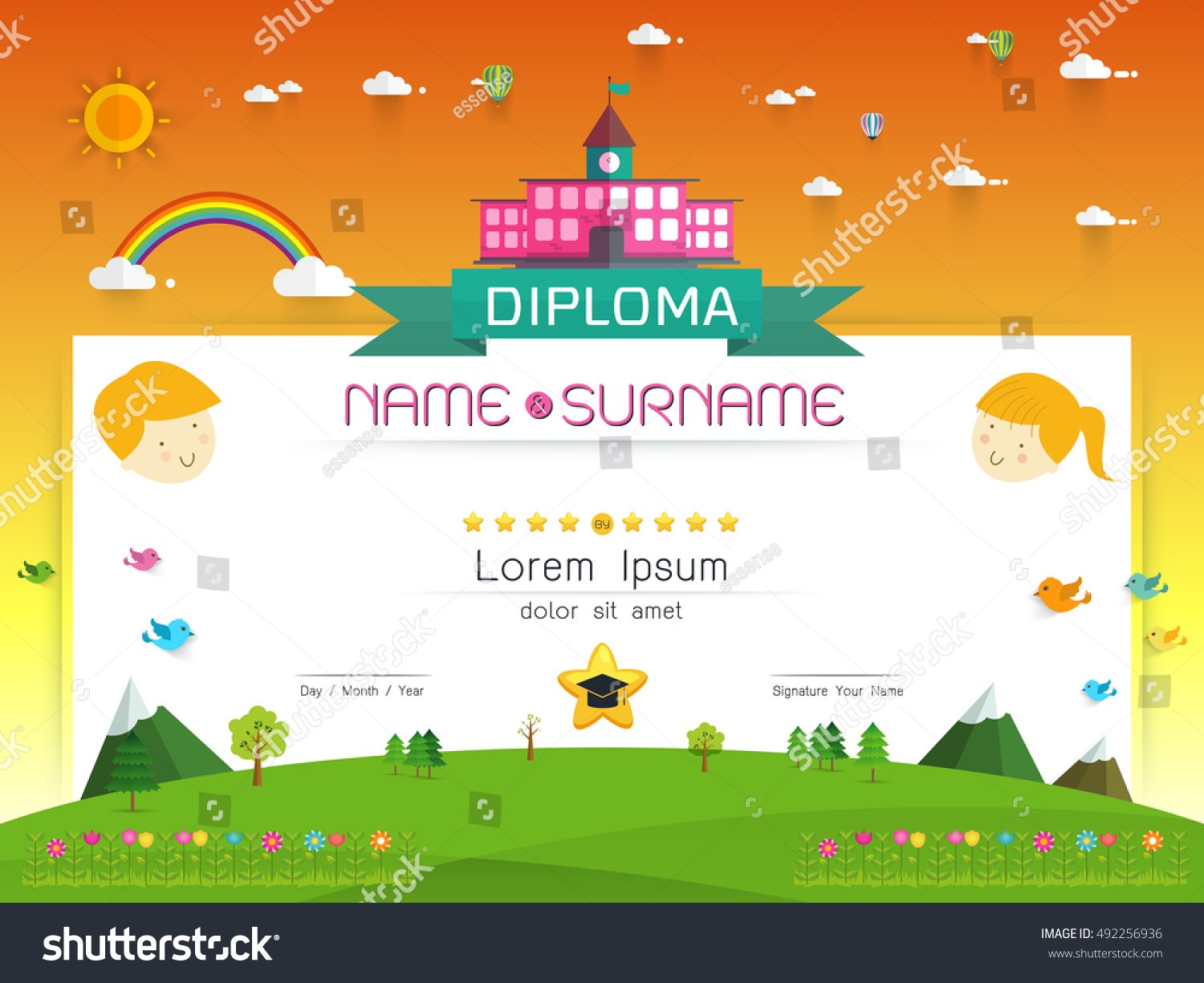 Certificate Kids Diploma Kindergarten Template Layout Stock Vector