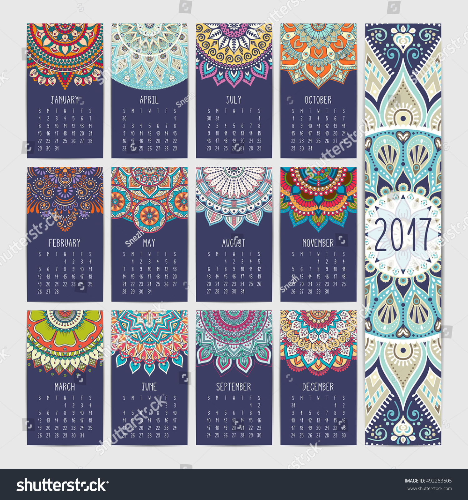 Calendar Vintage Vector : Calendar vintage decorative elements oriental 库存矢量图