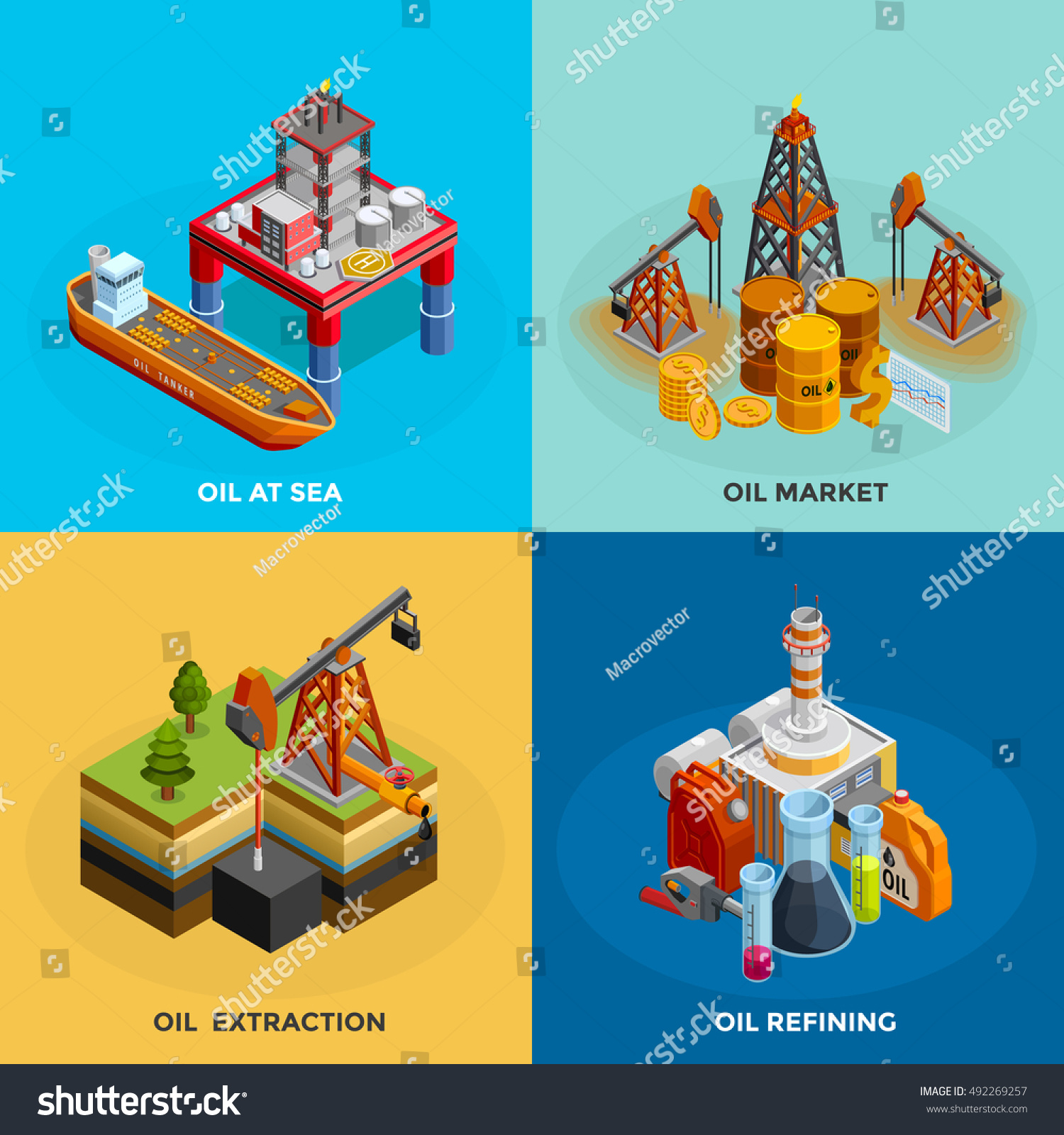 Oil Industry 4 Isometric Icons Square Stock Vector Royalty Free