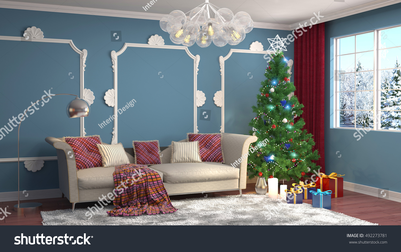Christmas Tree Decorations Living Room 3d Stock Illustration 492273781 Shutterstock