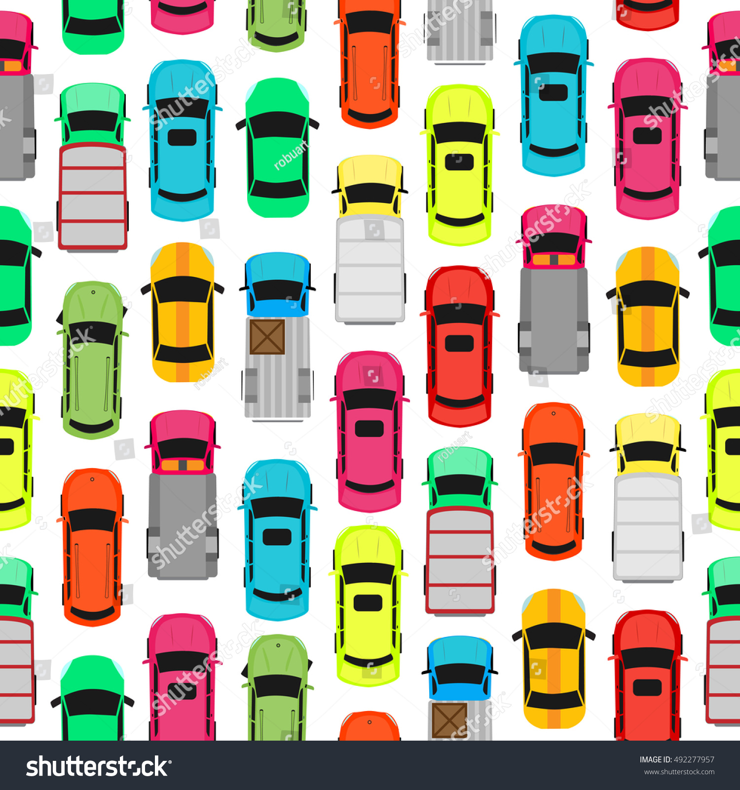 Seamless Pattern Cars On Parking Endless Stock Vector (Royalty Free)  492277957