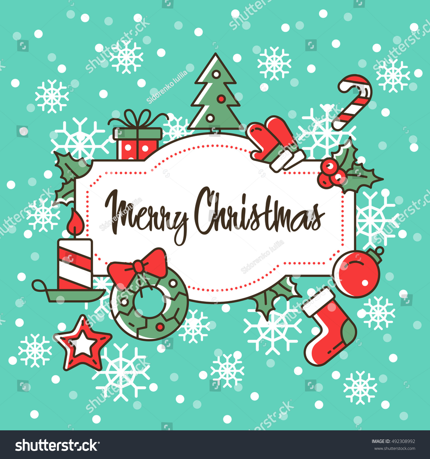 Christmas Vector Illustration Cute Greeting Card Stock Vector Hd