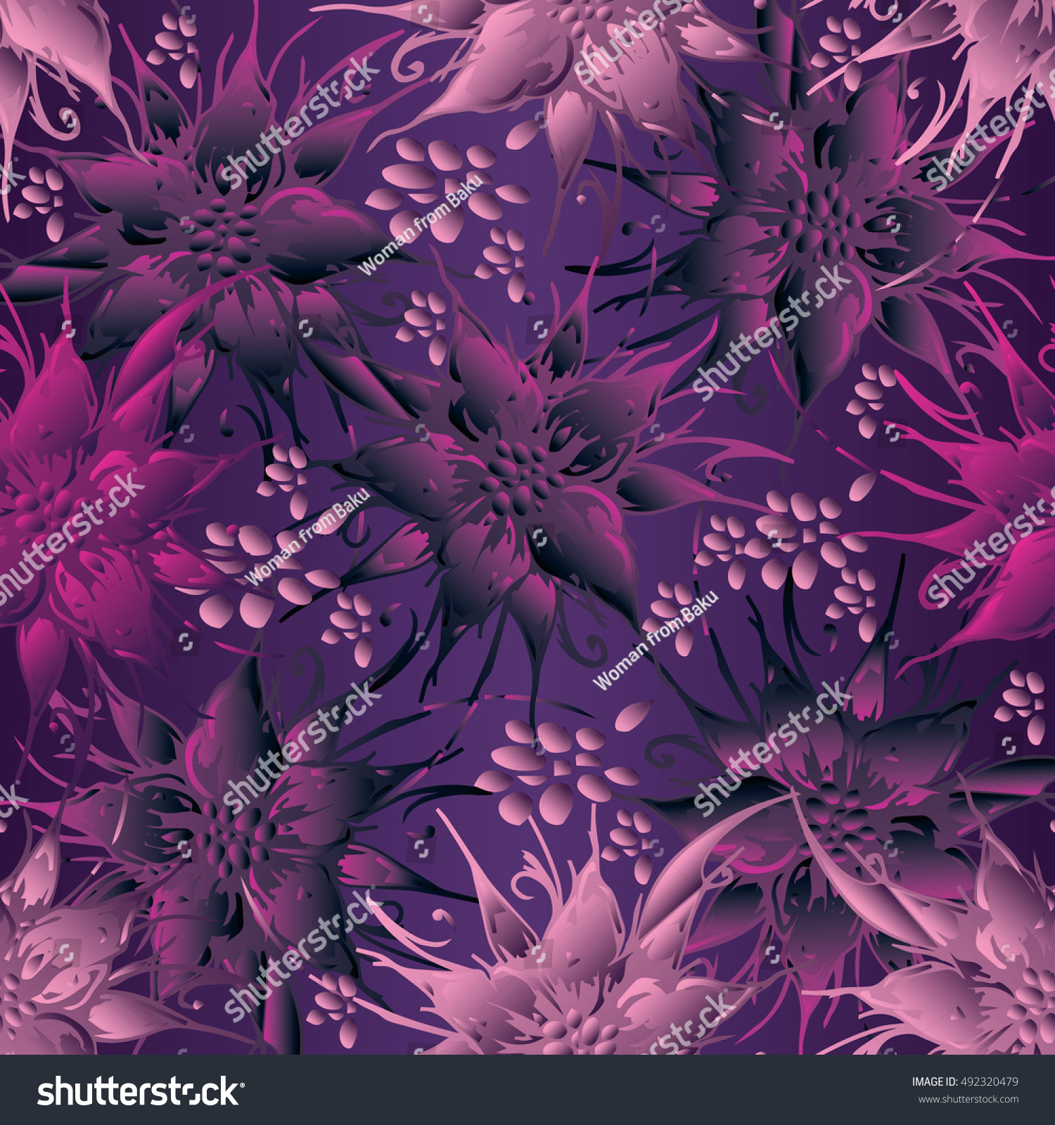 elegant purple floral vector seamless pattern stock vector