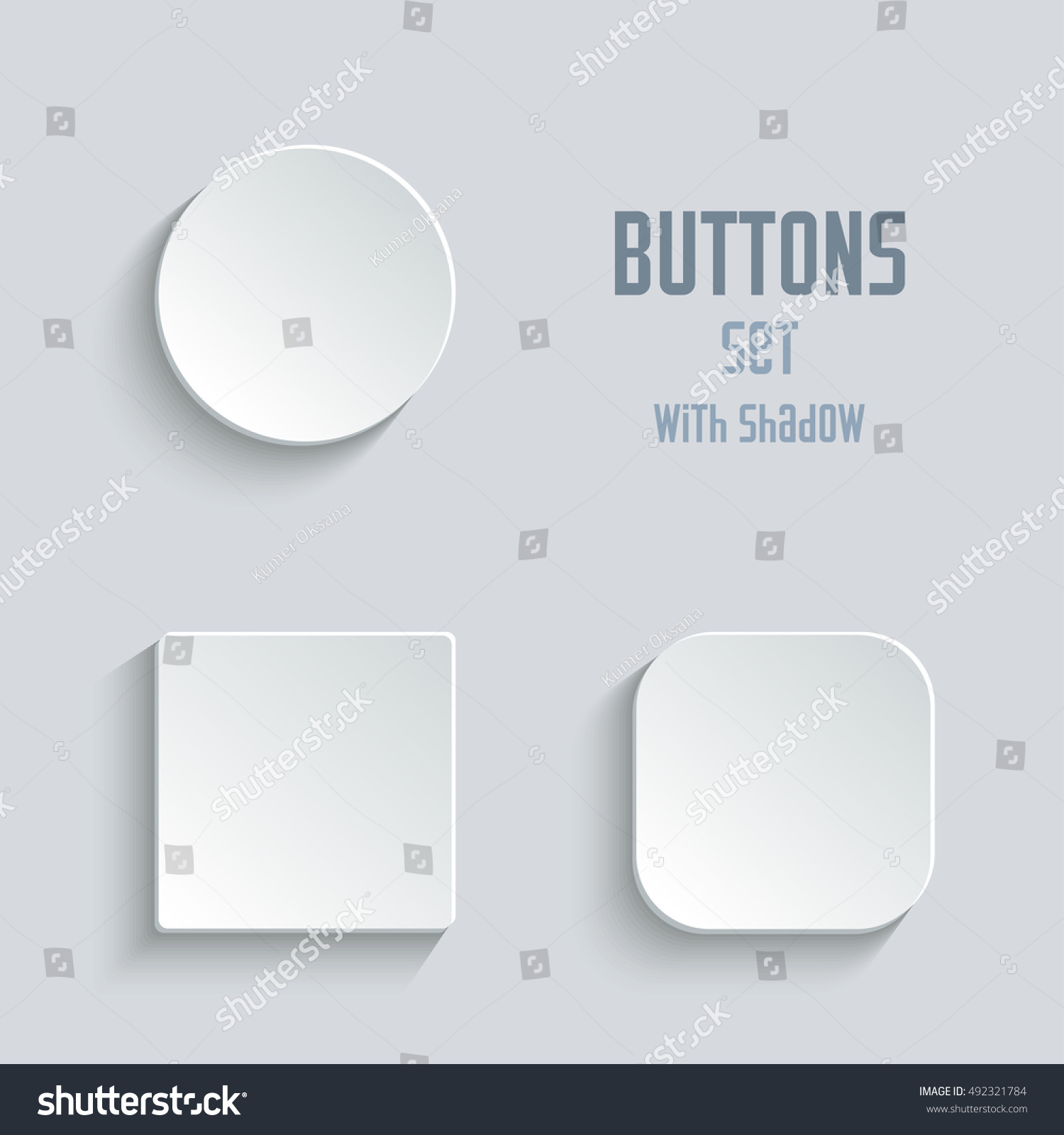 Vector white blank button set. Round square rounded buttons #492321784