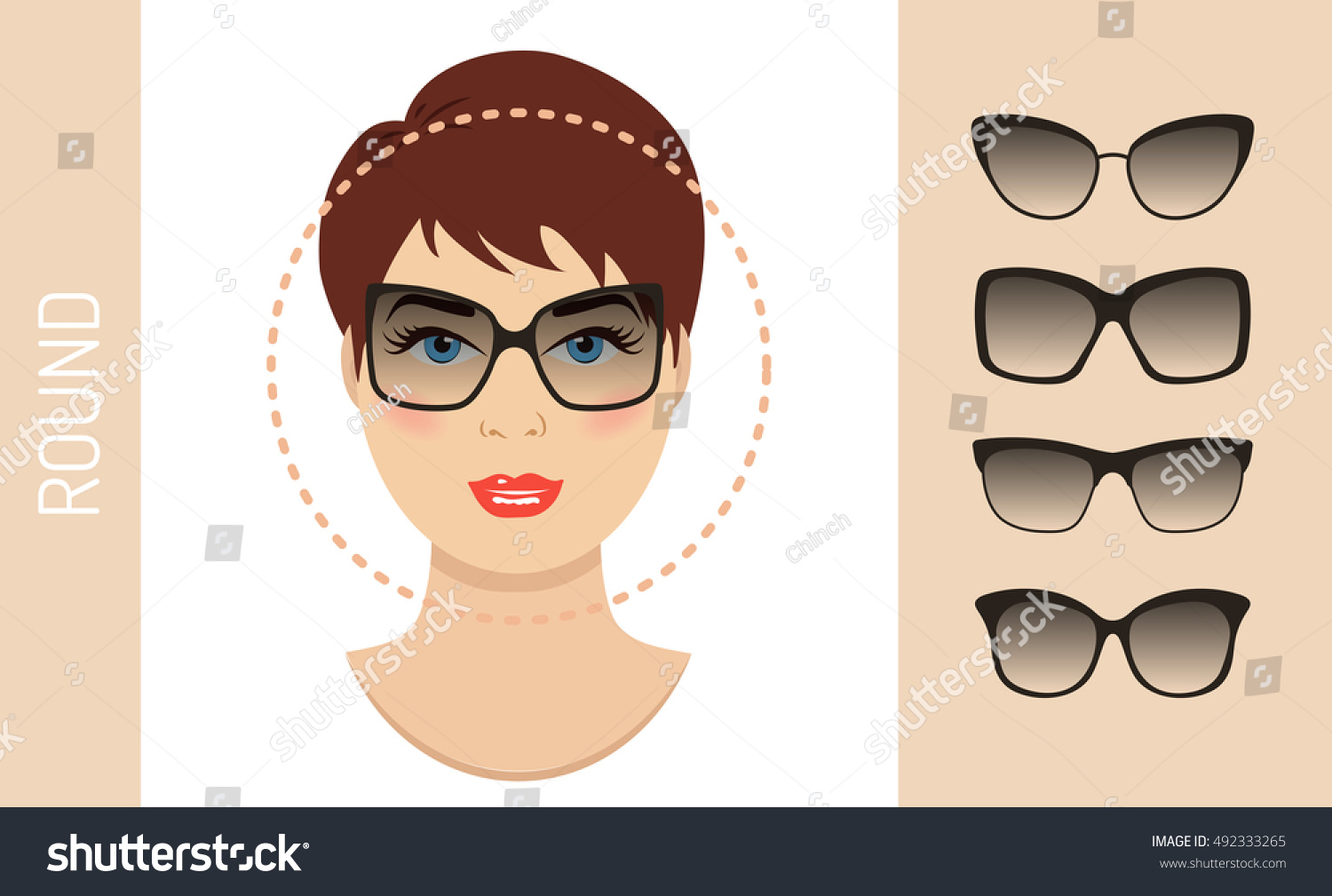 Woman Sunglasses Shapes Round Women Face Stock Vector Royalty Free