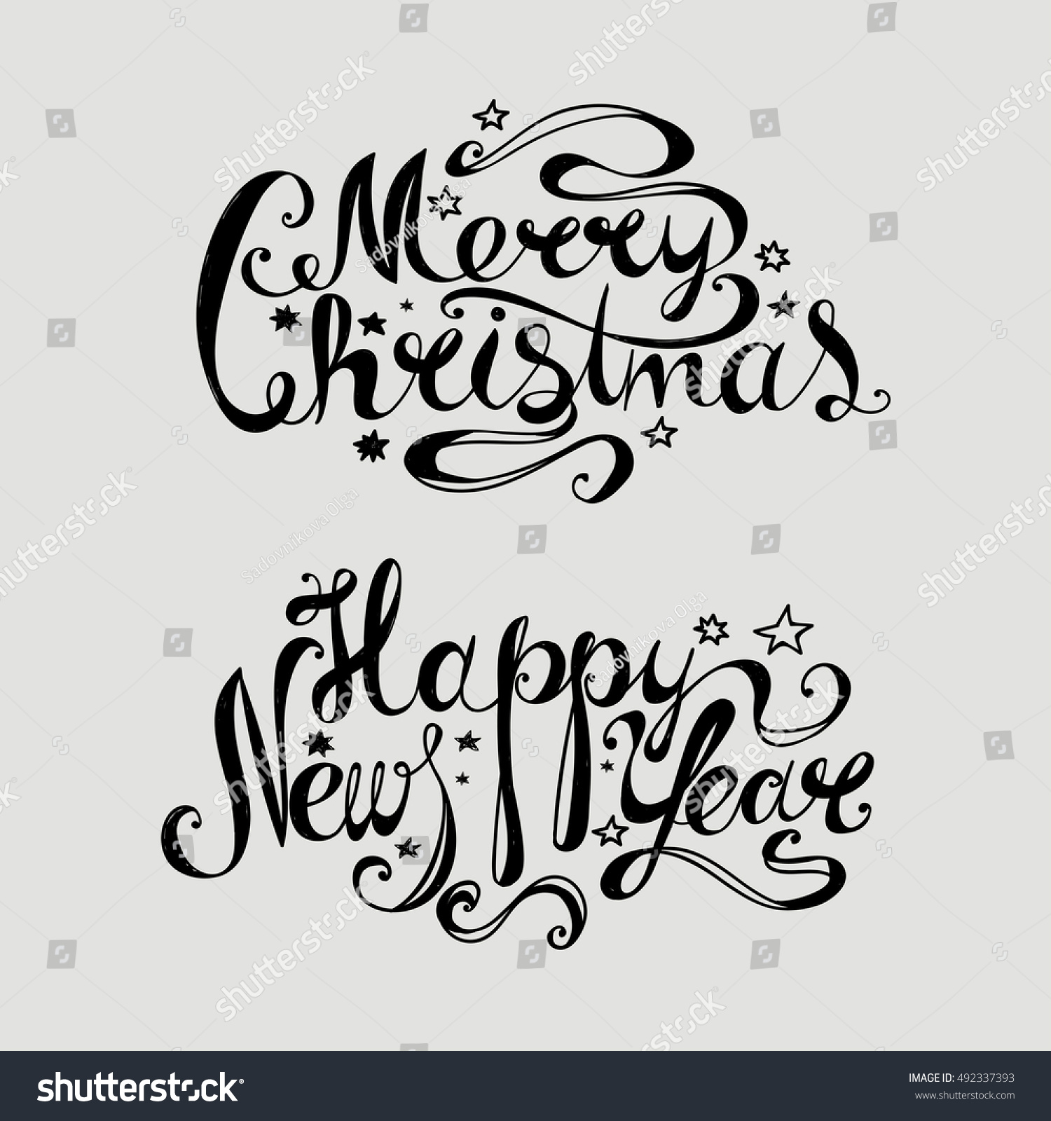 """Lettering """"Merry Christmas And Happy… Stock Photo"""