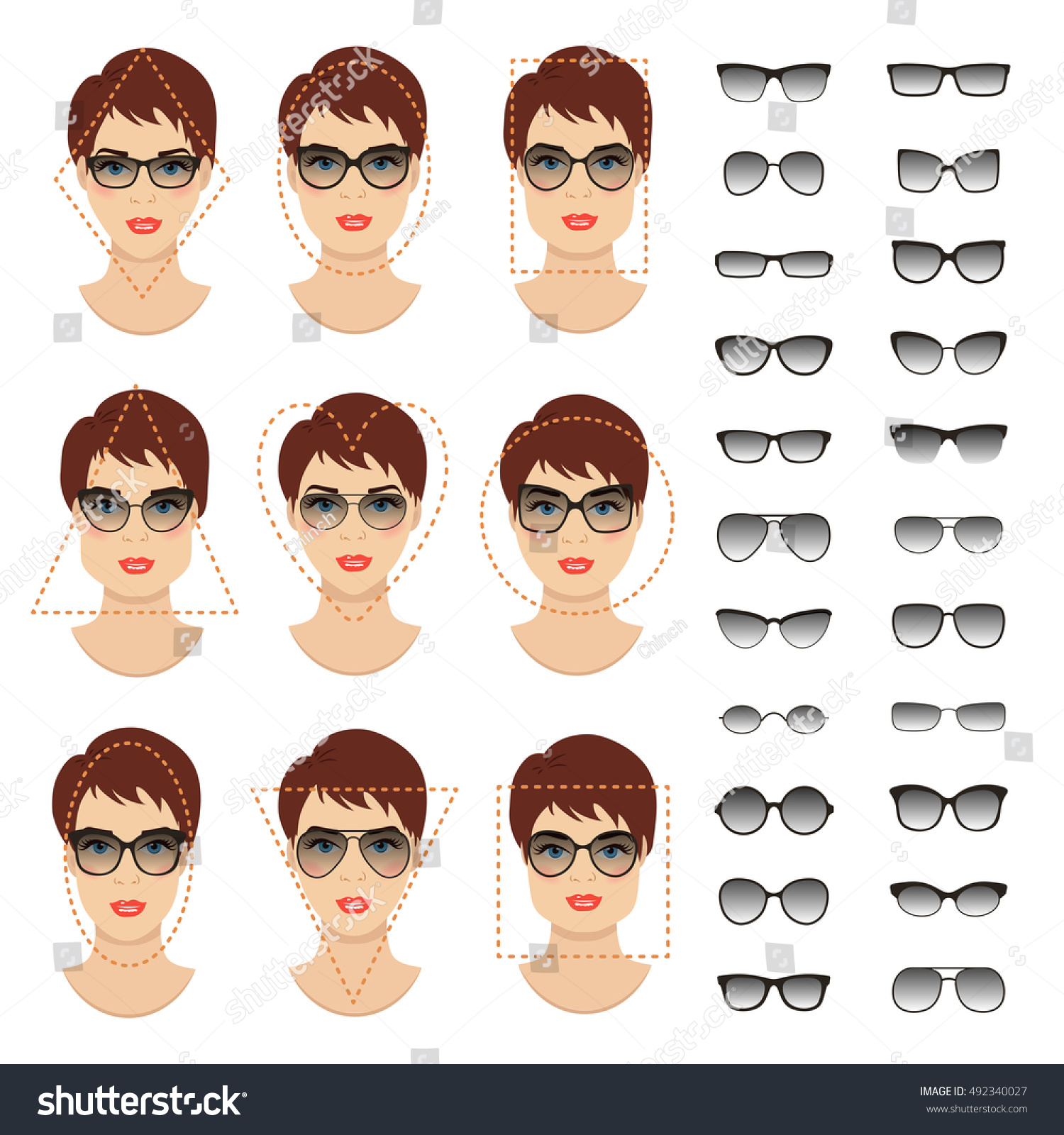 Woman Sunglasses Shapes Different Women Face Stock Vector ...