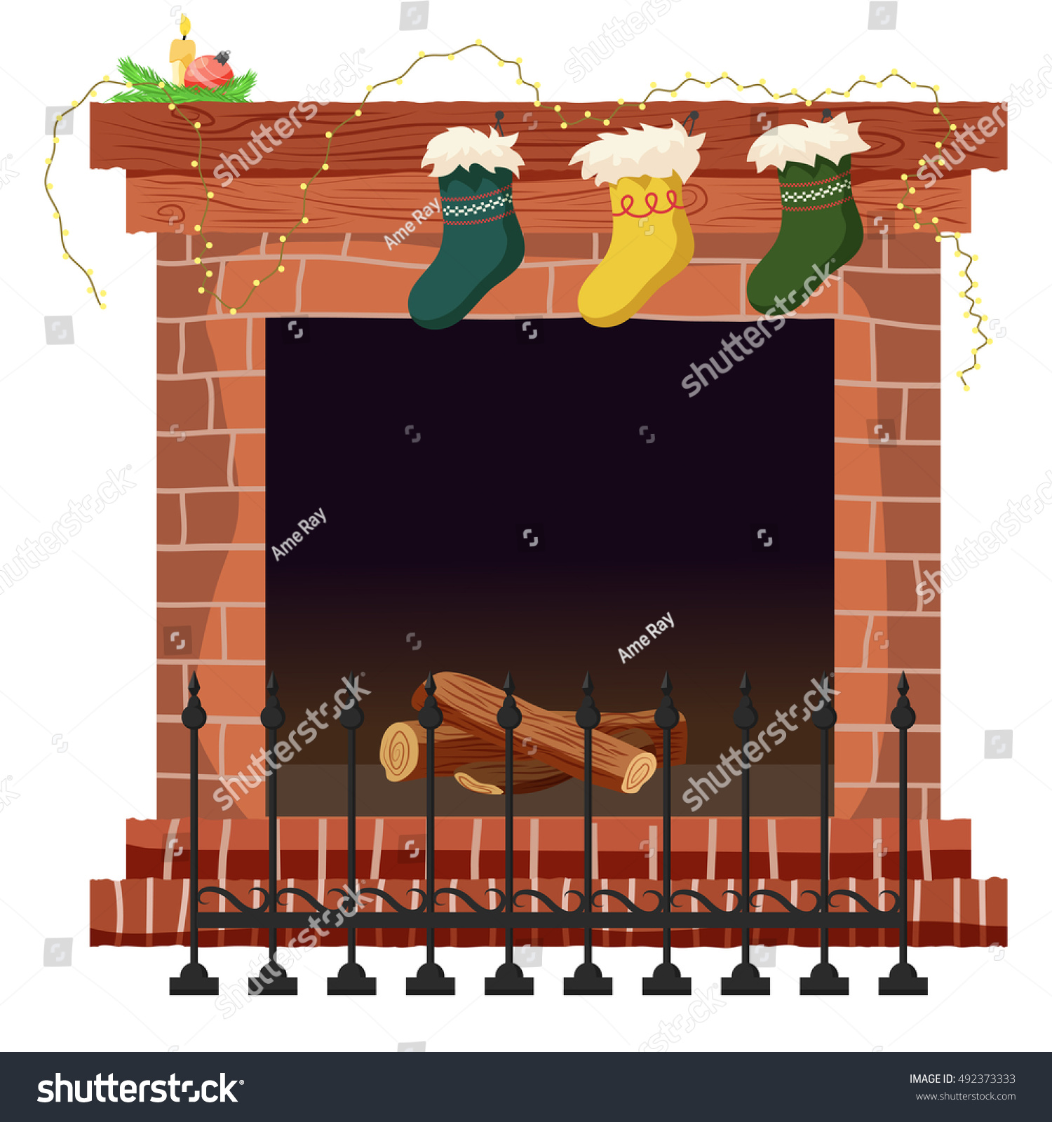 fireplace vector illustration christmas fireplace isolated