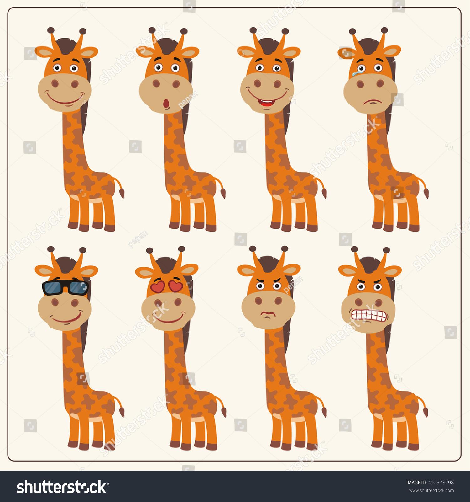 vector set isolated emotion giraffe collection stock vector