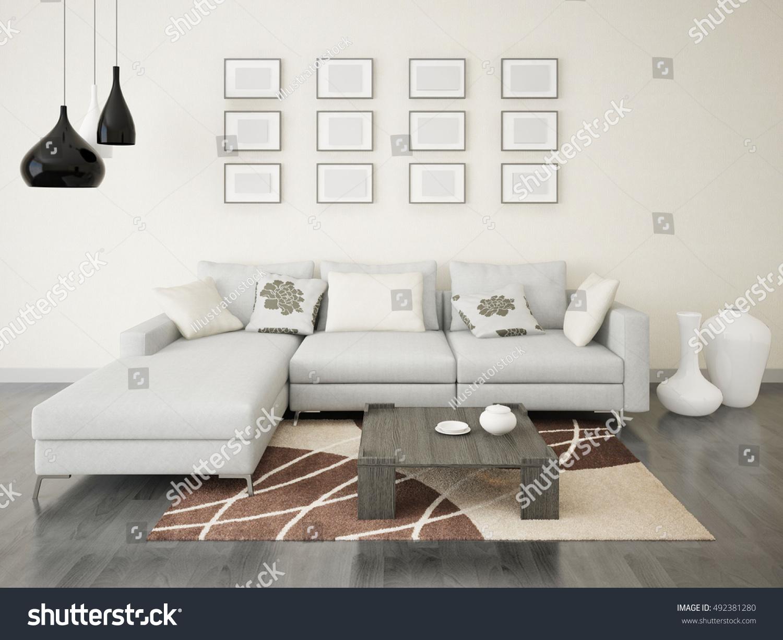 Modern Stylish Living Room Corner Sofa Stock Illustration 492381280 ...