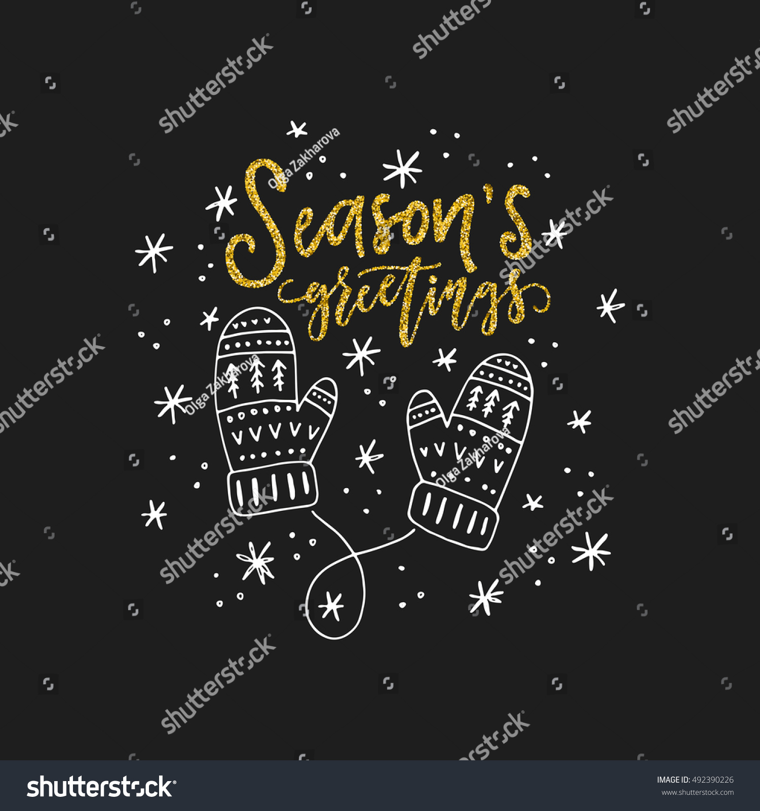 Stock images royalty free images vectors shutterstock lettering seasons greetings and illustration of a mittens unique christmas card design kristyandbryce Image collections