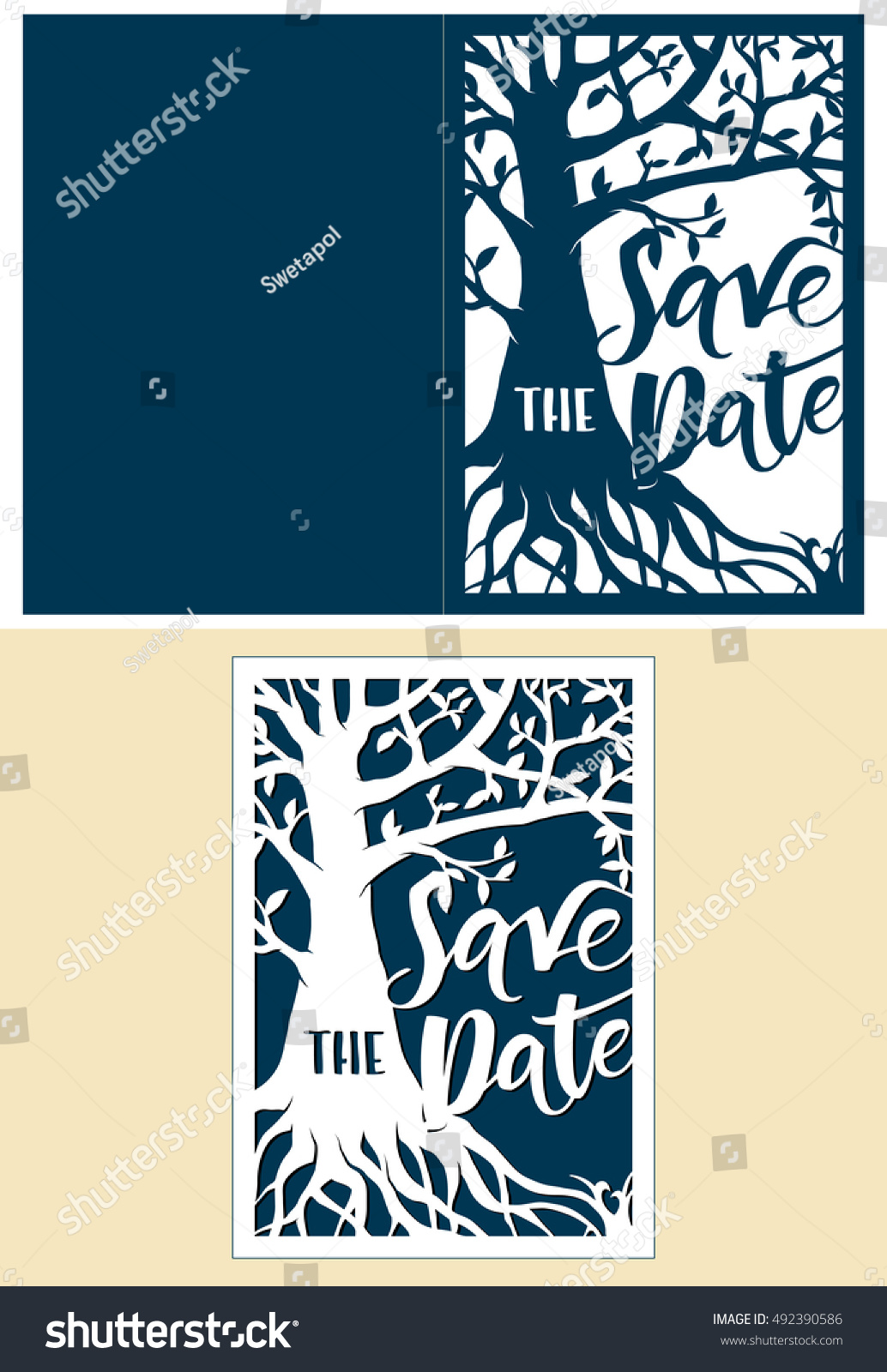 Save Date Card Family Tree Laser Stock Vector Royalty Free