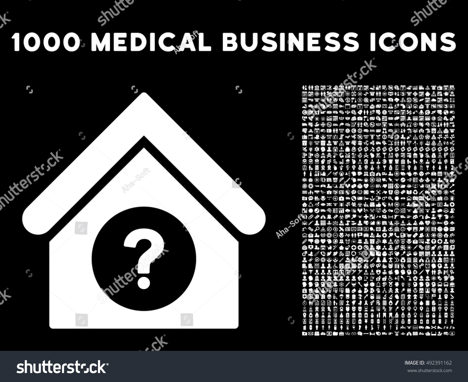 Status building icon with 1000 medical business white vector design elements set style is flat symbols black background vector