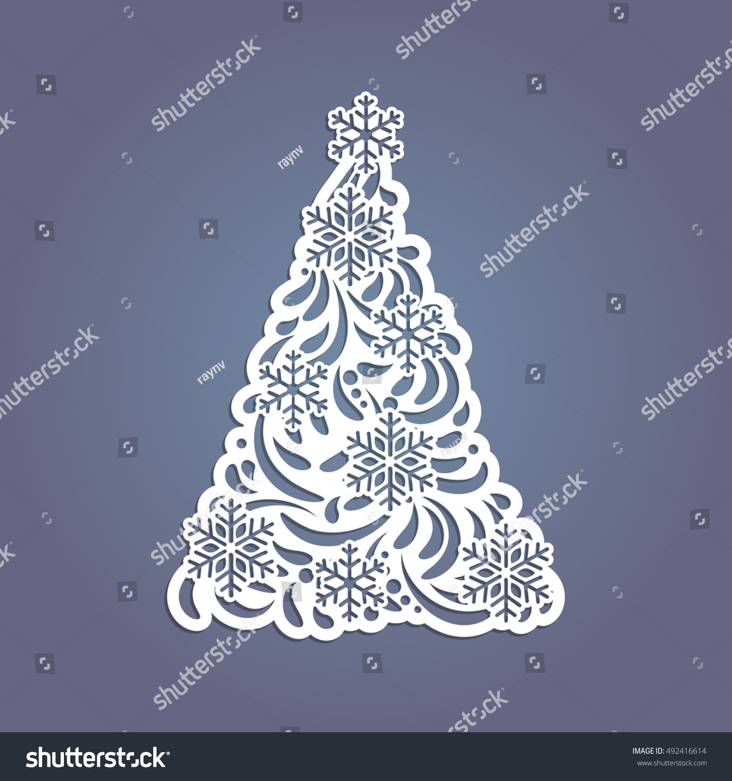 christmas tree cut out paper template stock vector 492416614