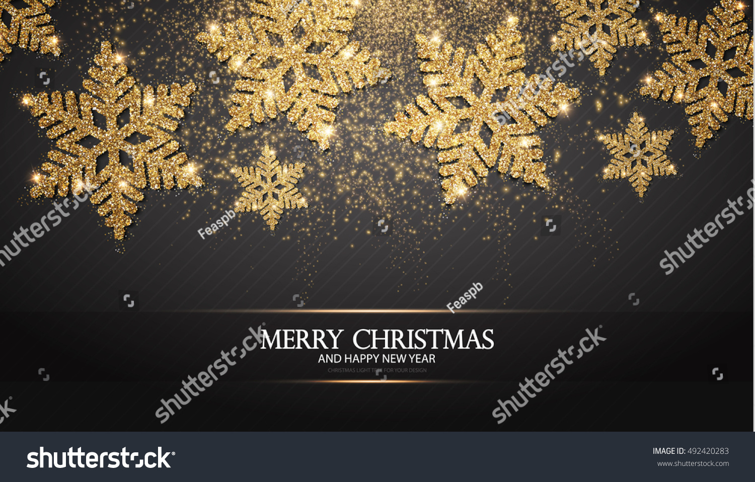 Elegant Christmas Background with Shining Gold Snowflakes. Vector illustration #492420283