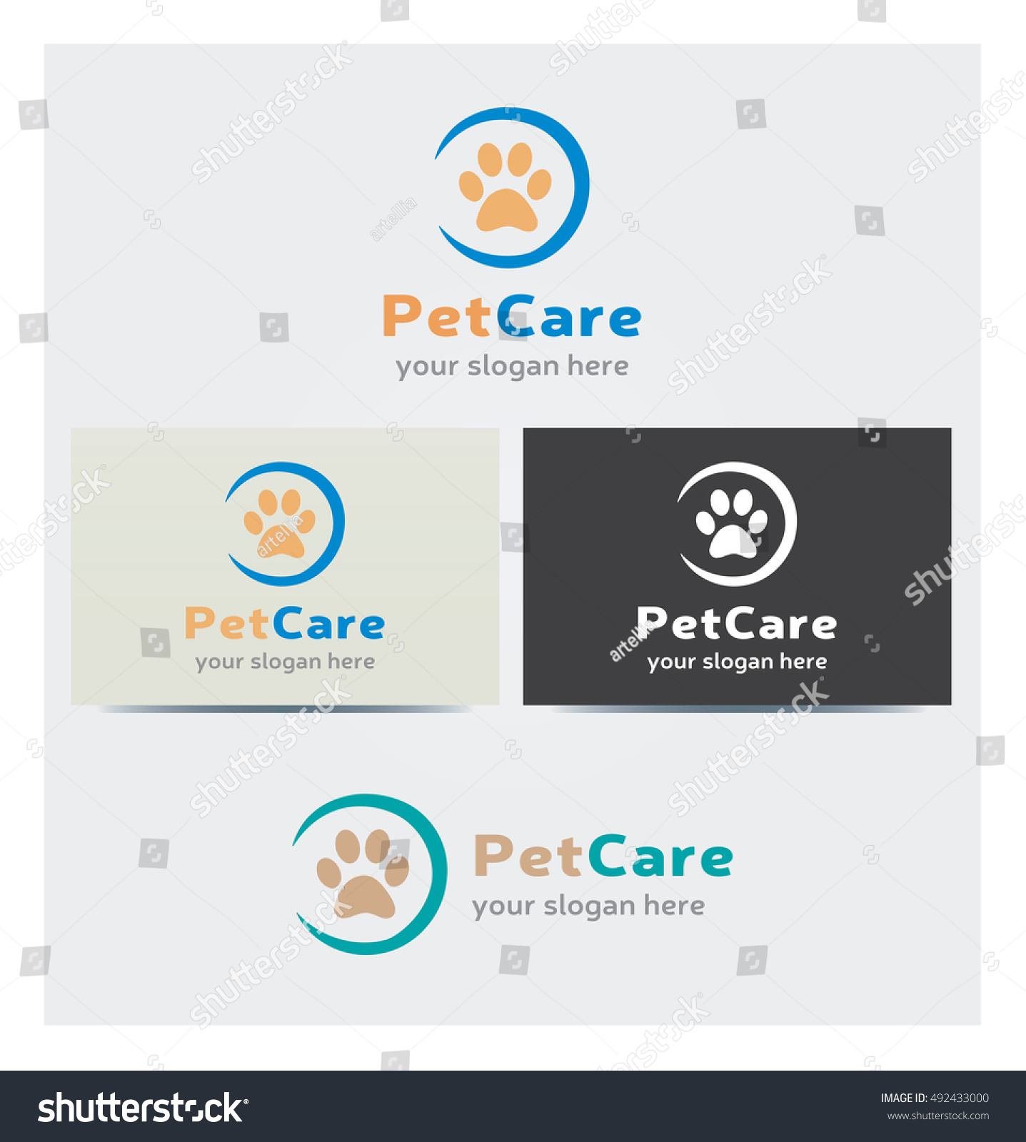 Animal Footstep Icon Logo Pet Care Stock Photo (Photo, Vector ...