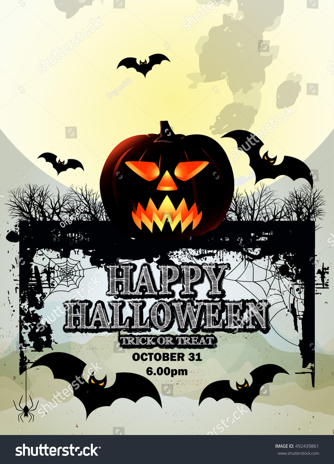 Pumpkin for Happy Halloween Happy Halloween Poster Halloween Party Poster