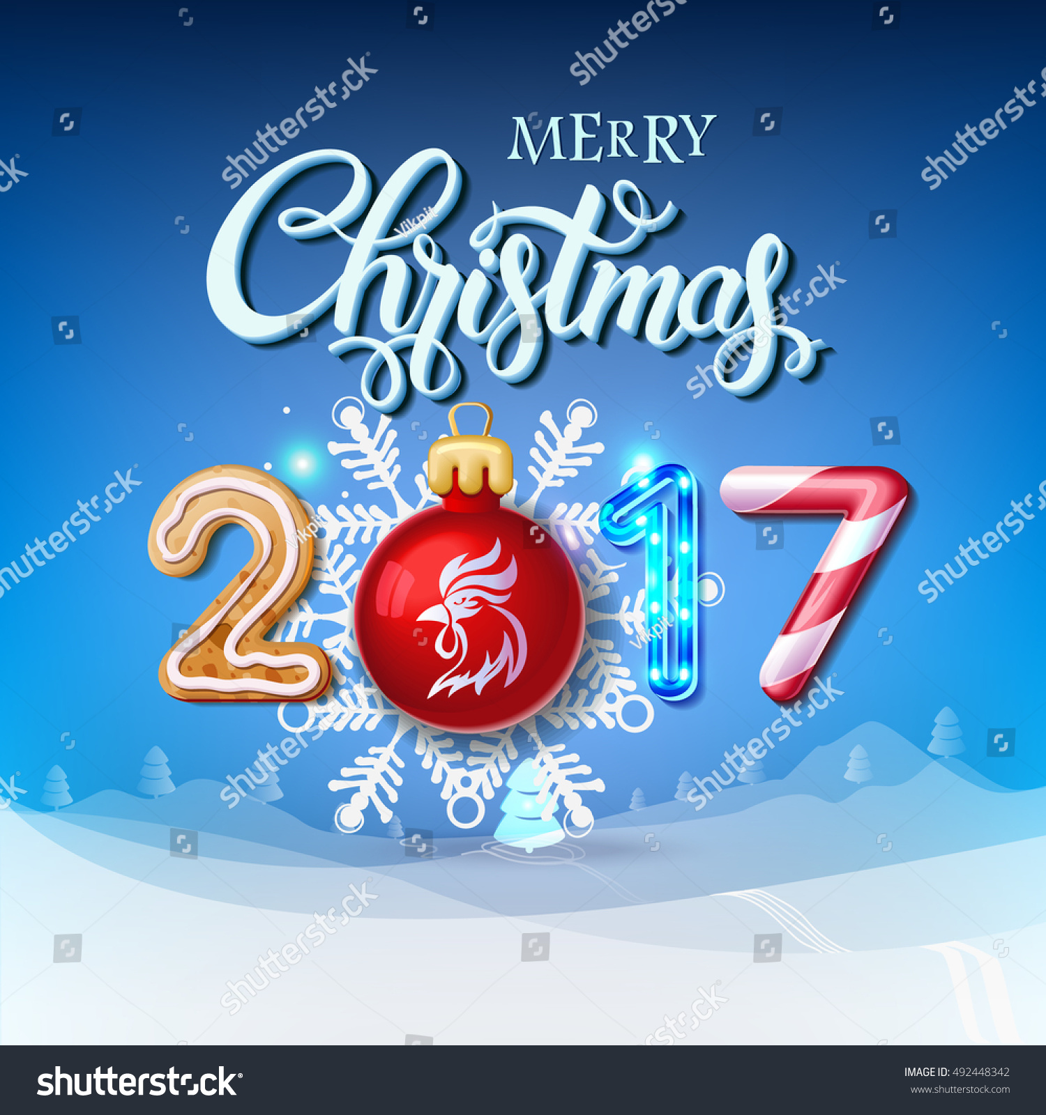 merry christmas 2017 decoration poster card happy new year sign background and composition on a