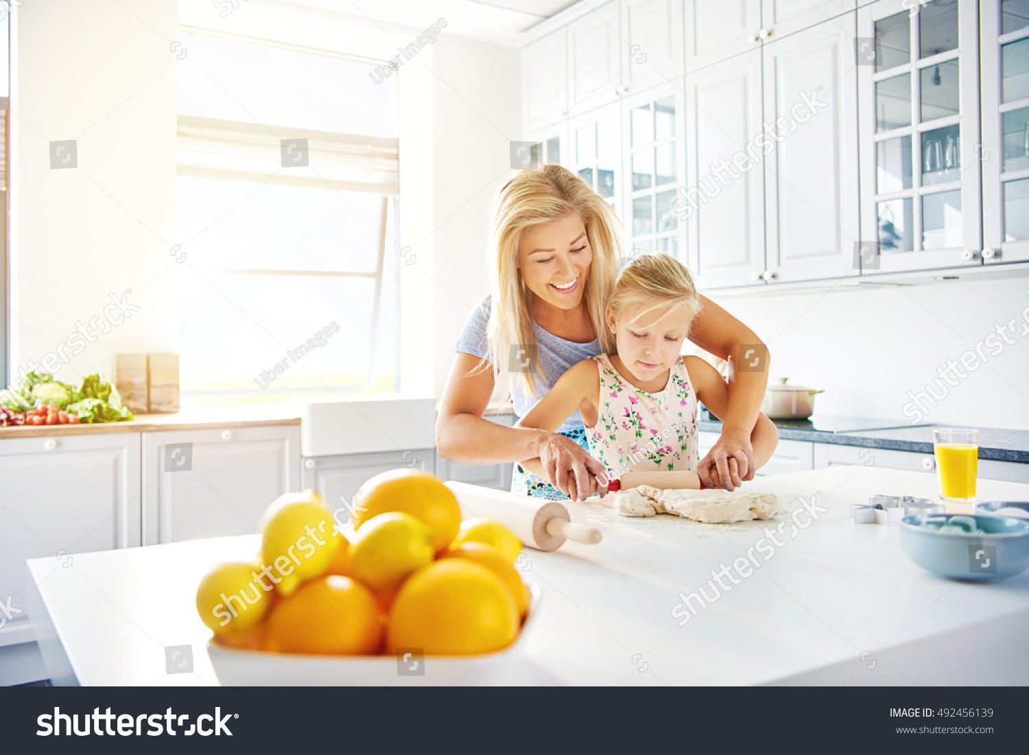 Smiling Happy Young Mother Teaching Her Stock Photo (Royalty Free ...