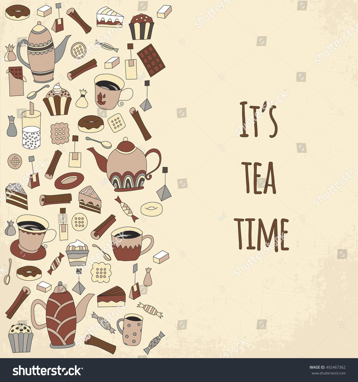Tea Time Vector Illustration Hand Drawn Stock Vector Royalty Free