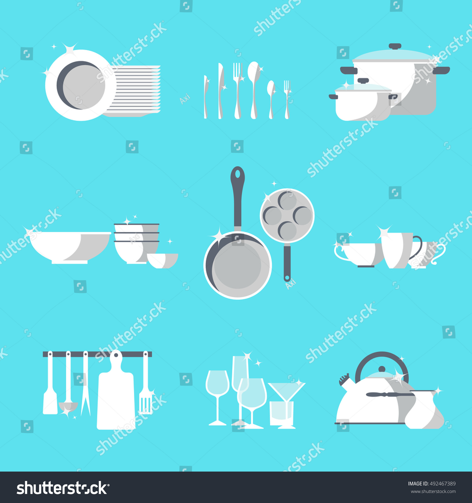 Vector Crockery Set Kitchen Dish Flat Stock Vector (Royalty Free ...